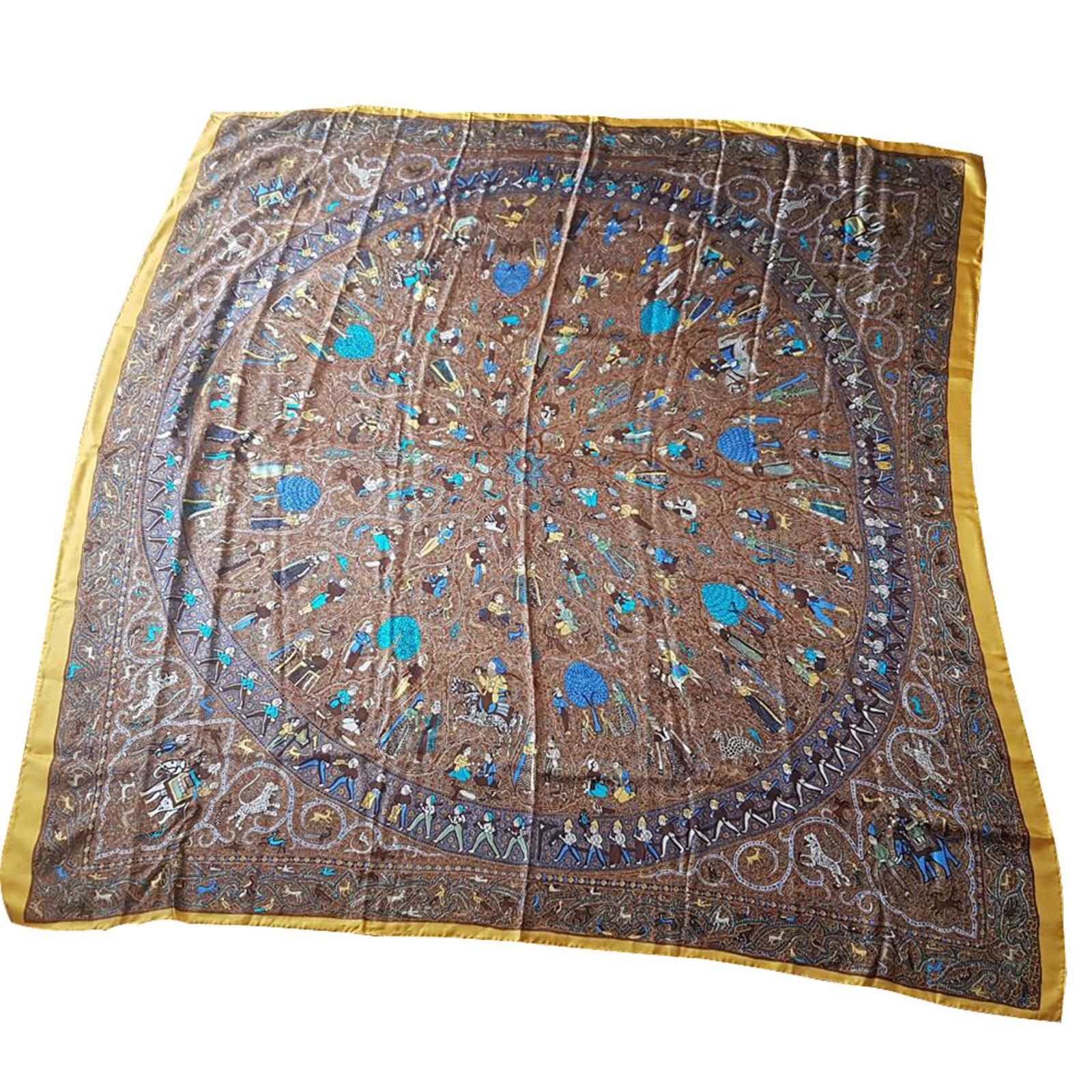 980216979cf Hermès Hermes Giant Twill Silk Scarf Silk scarves Silk Brown ref.35891