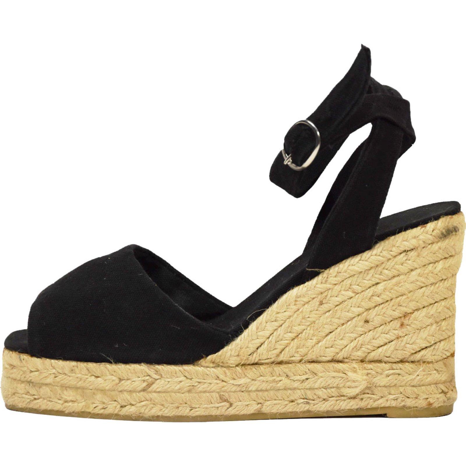 espadrilles castaner castaner sandales compens es toile noir joli closet. Black Bedroom Furniture Sets. Home Design Ideas