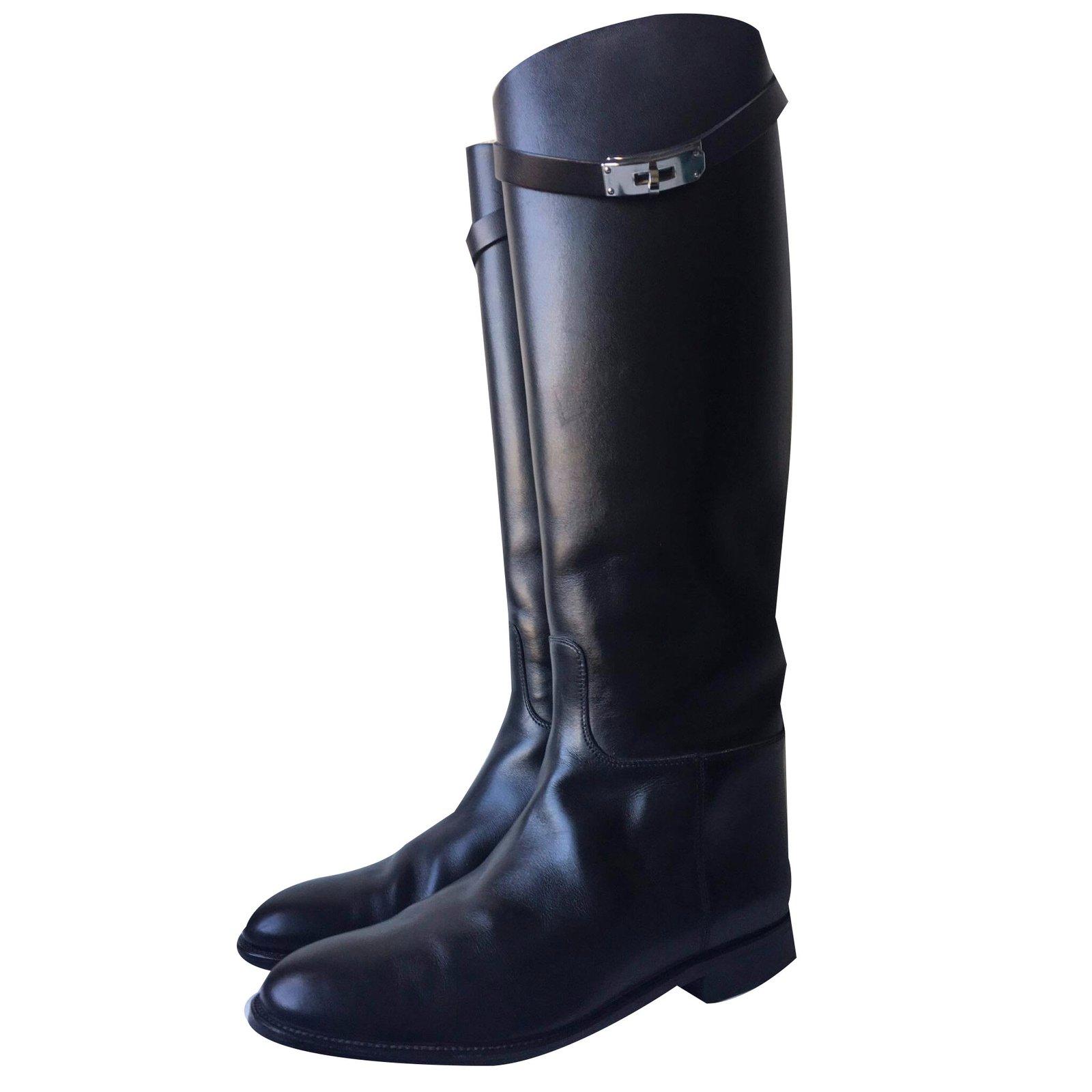Bottes Hermès Jumping Cuir Noir ref.35972