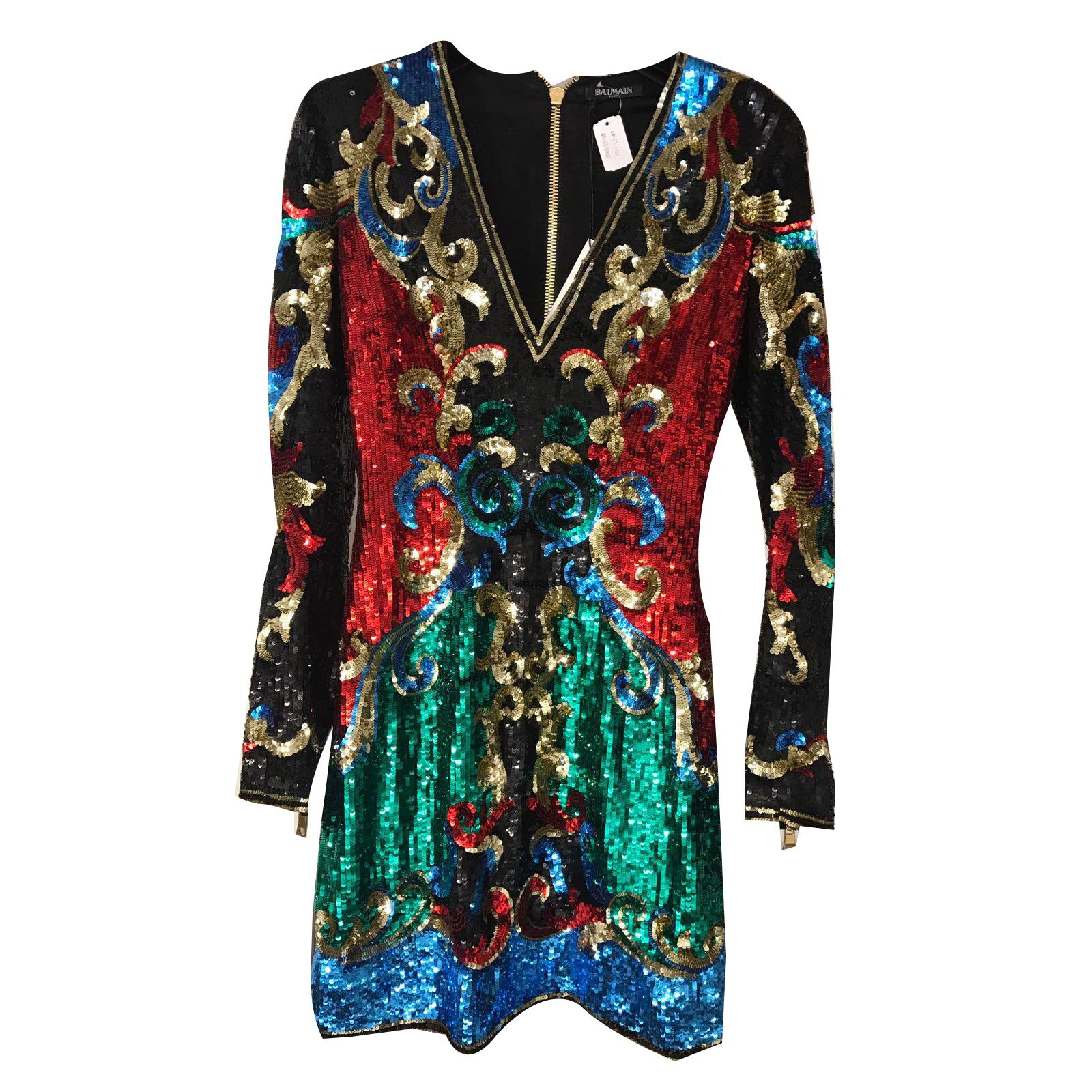 Balmain V Neck Sequin Embellished Mini Dress Dresses Silk Multiple Colors Ref 35983 Joli Closet