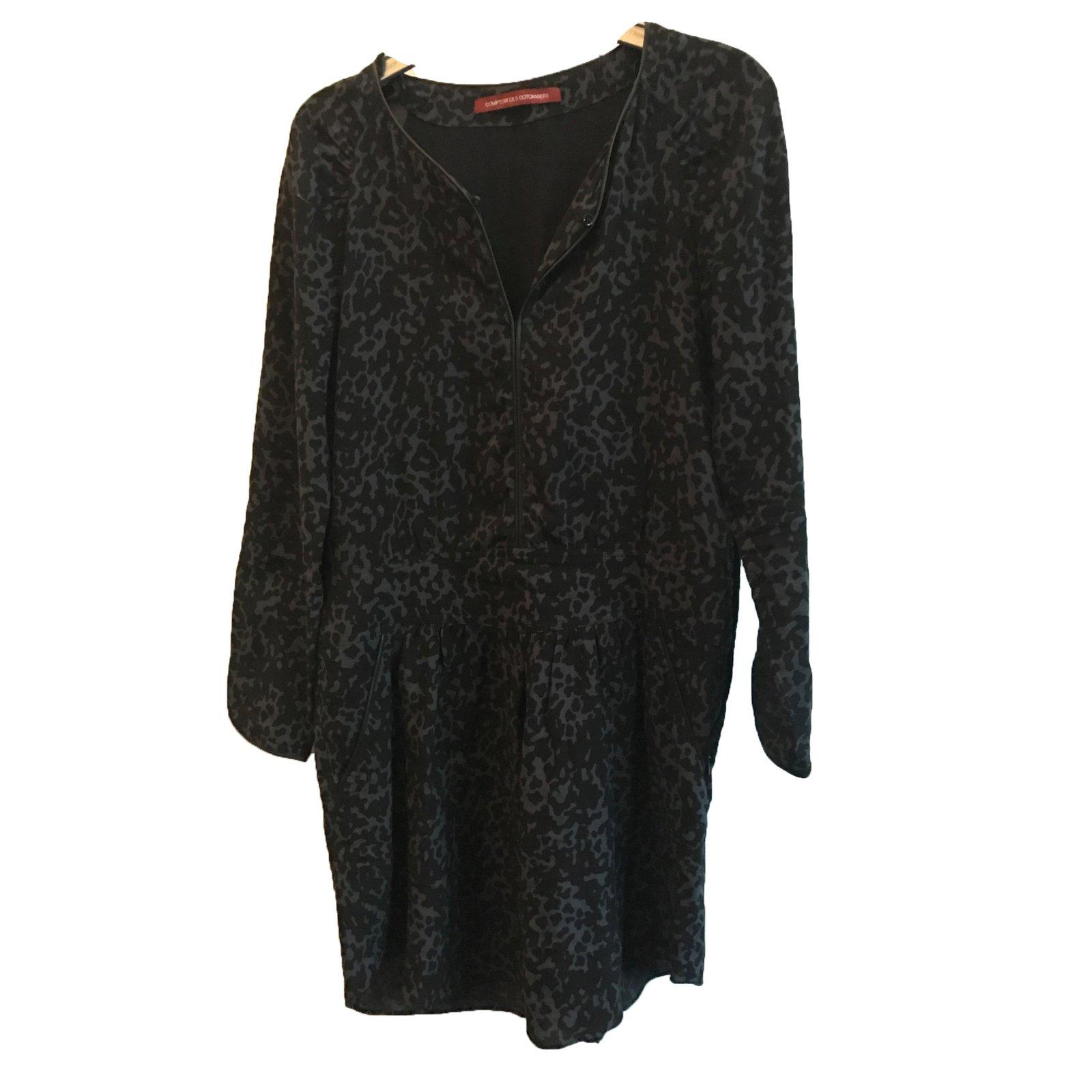 Robes comptoir des cotonniers robe viscose noir bleu ref - Robe patineuse comptoir des cotonniers ...