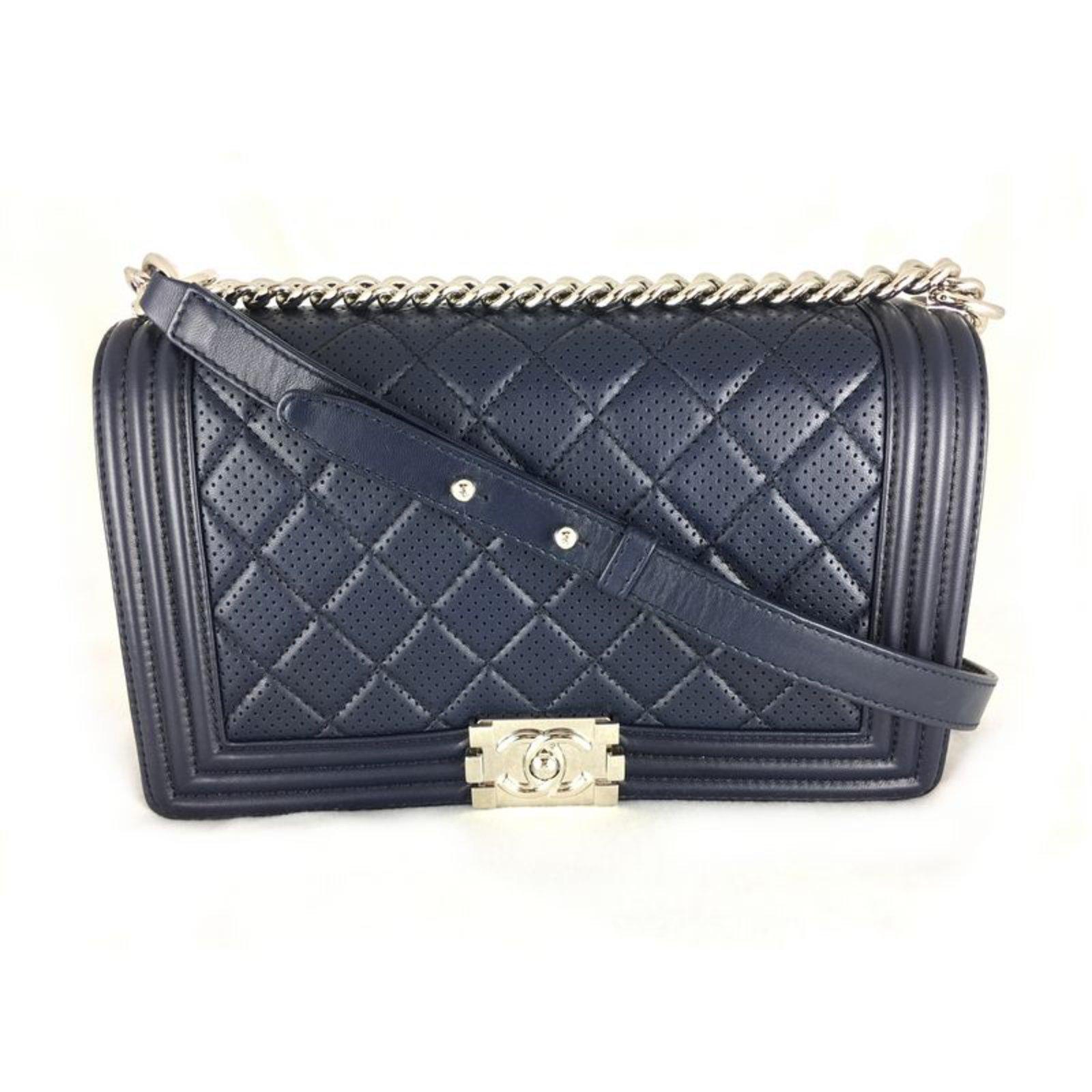 bf61fbf1d2df Chanel Chanel Boy Dark Blue Perforated New Medium Handbags Leather Blue  ref.36382