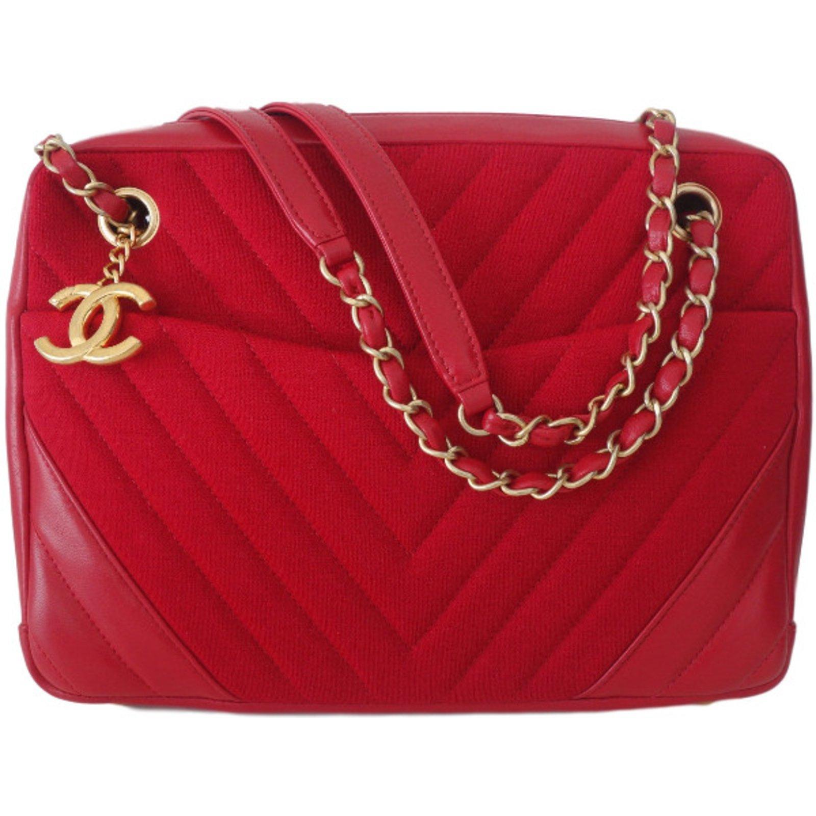 Chanel Handbag Handbags Leather Red Ref 36386