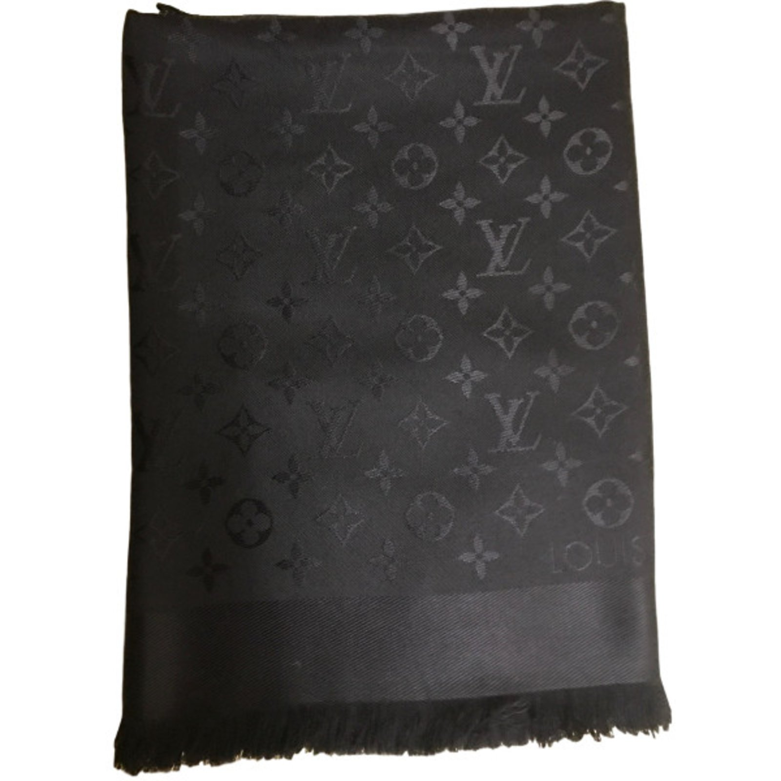 398090a0acf4 Foulards Louis Vuitton châle monogram Louis Vuitton Soie Noir ref.36739. ECHARPE  LOUIS VUITTON