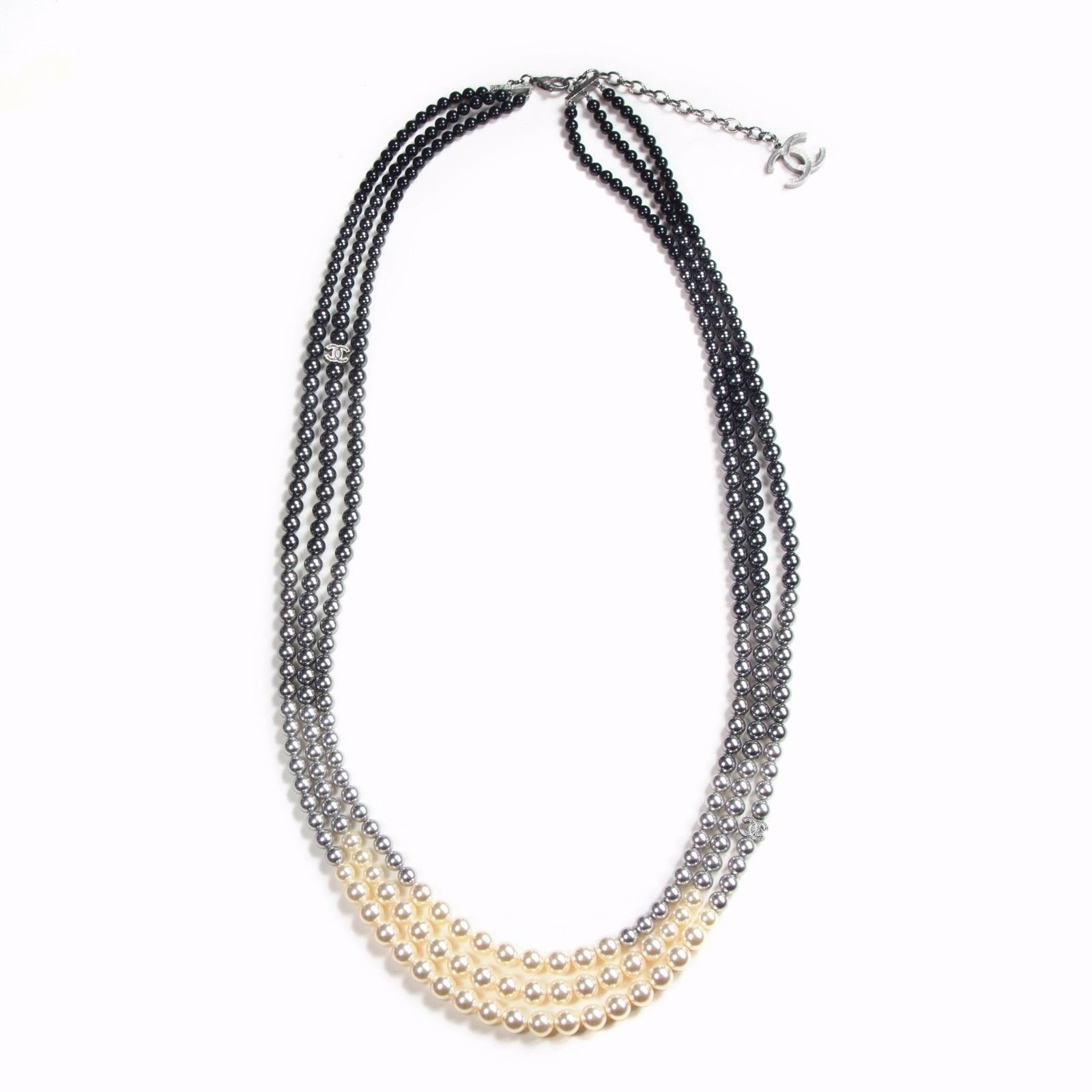 Chanel 2015 Multistrand Gradient Pearl Necklace Necklaces Rope Multiple  Colors Ref37026
