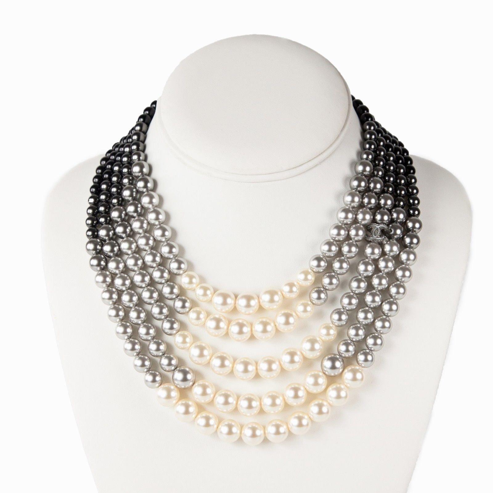 50531ee8cad8 Colliers Chanel Perle Multirang Collier dégradé Perle Multicolore ref.37037