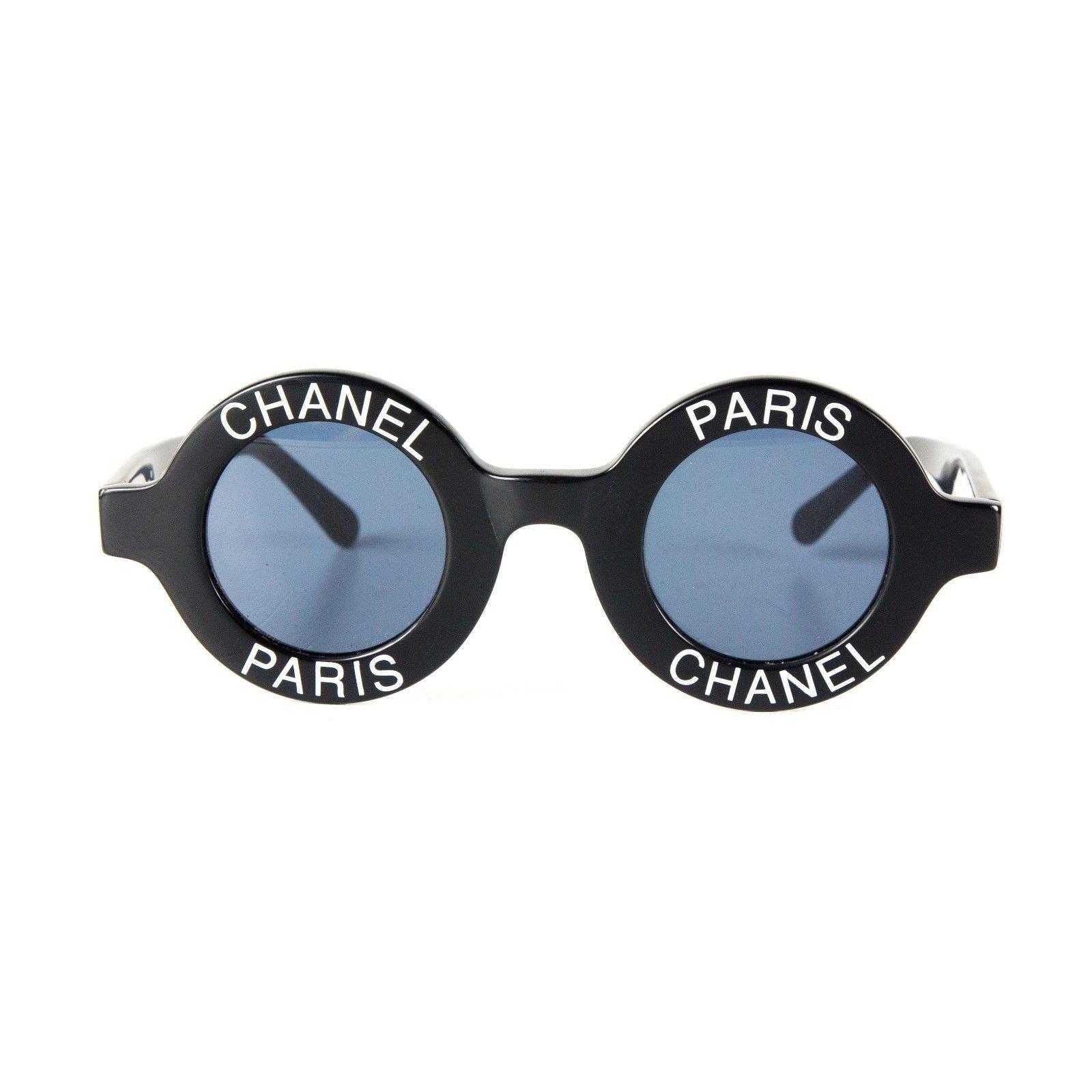 lunettes chanel chanel lunettes de soleil rondes vintage logo autre autre joli closet. Black Bedroom Furniture Sets. Home Design Ideas