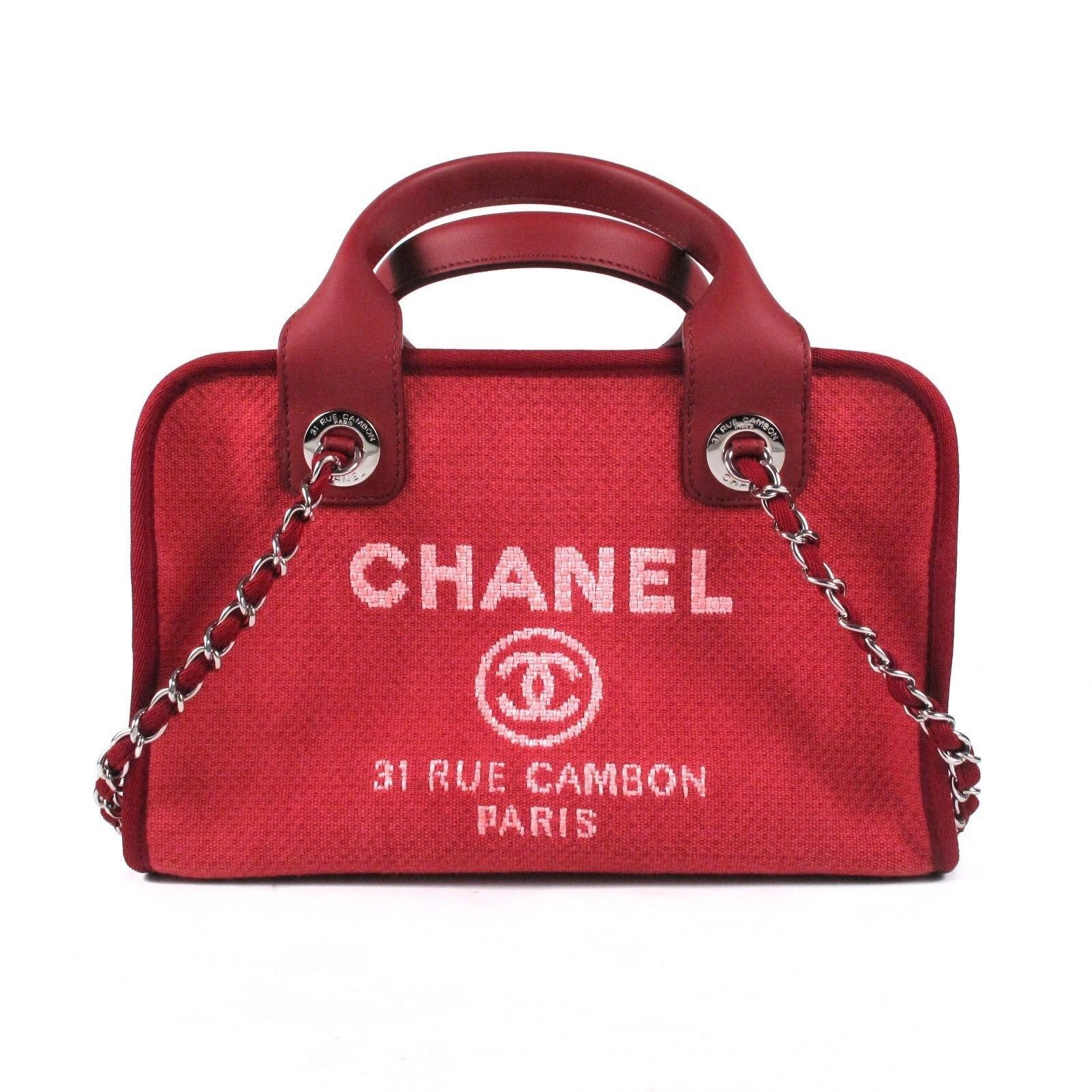 Chanel Deauville Bowling Bag Handbags Cloth Red Ref 37132