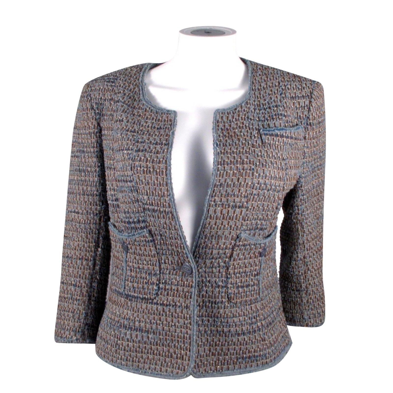 chanel tweed jacket. chanel denim tweed jacket jackets cotton blue ref.37150 .