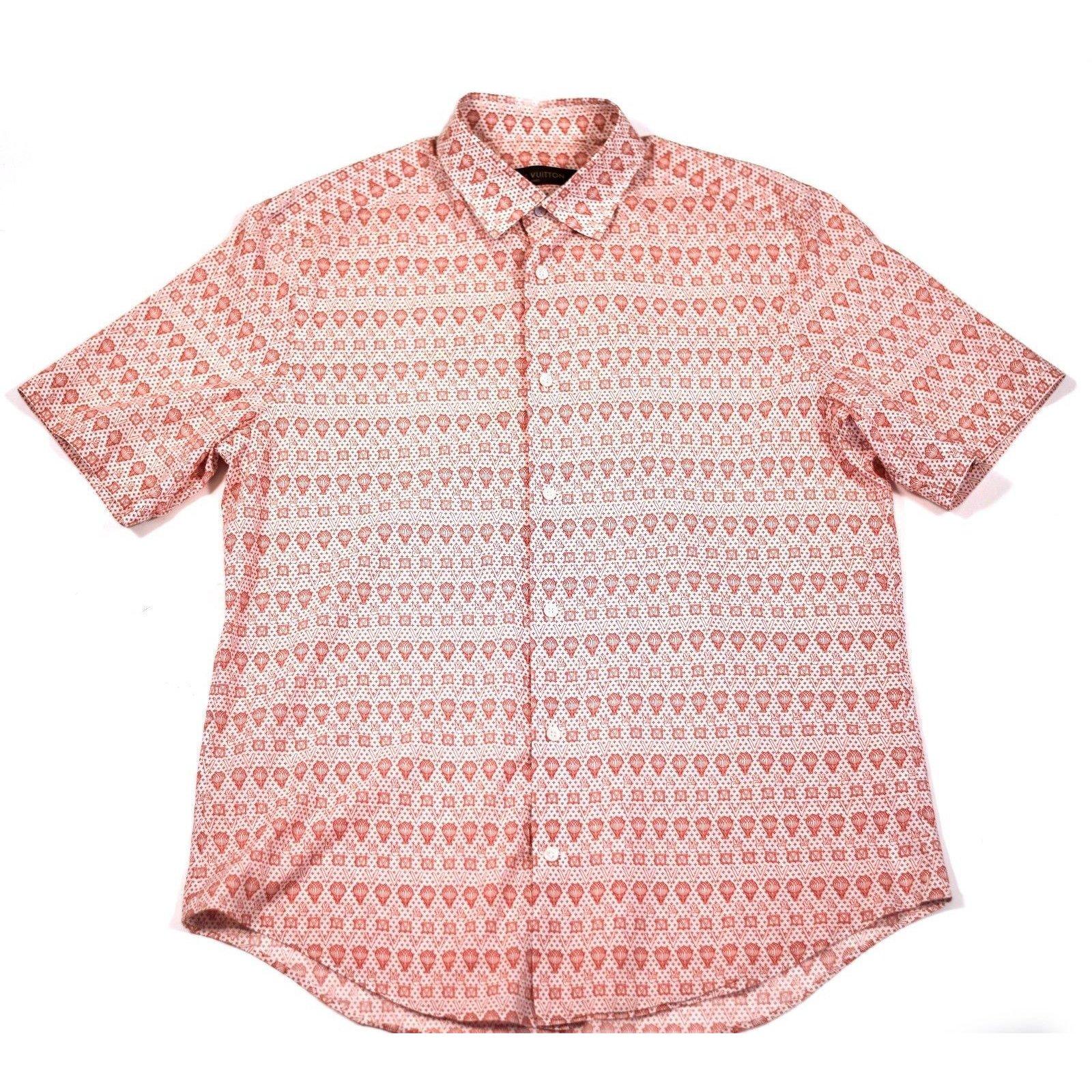 Louis vuitton button up shirt shirts cotton red for Cotton button up shirt