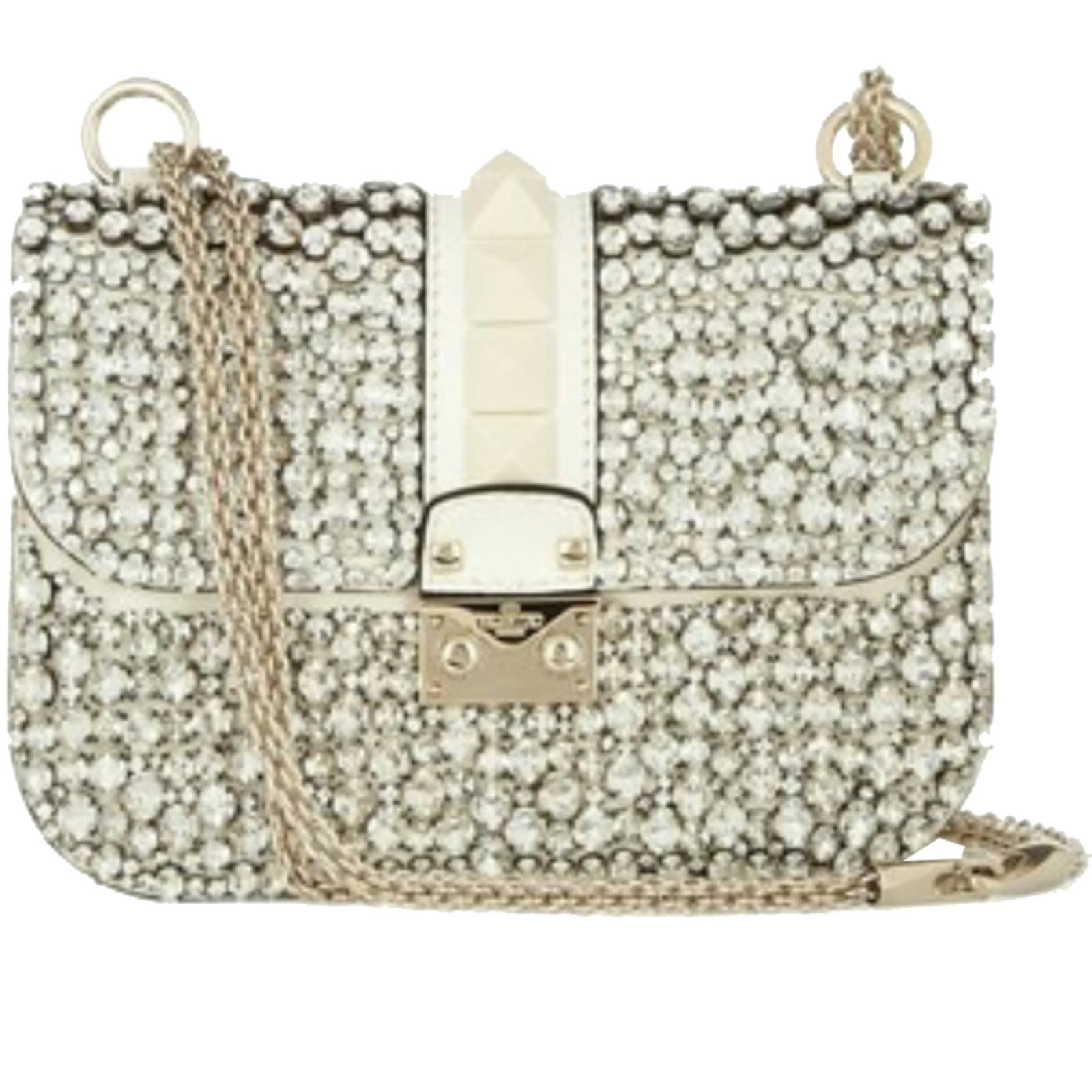 Valentino Swarovski Bag Handbags Leather White Ref 37527