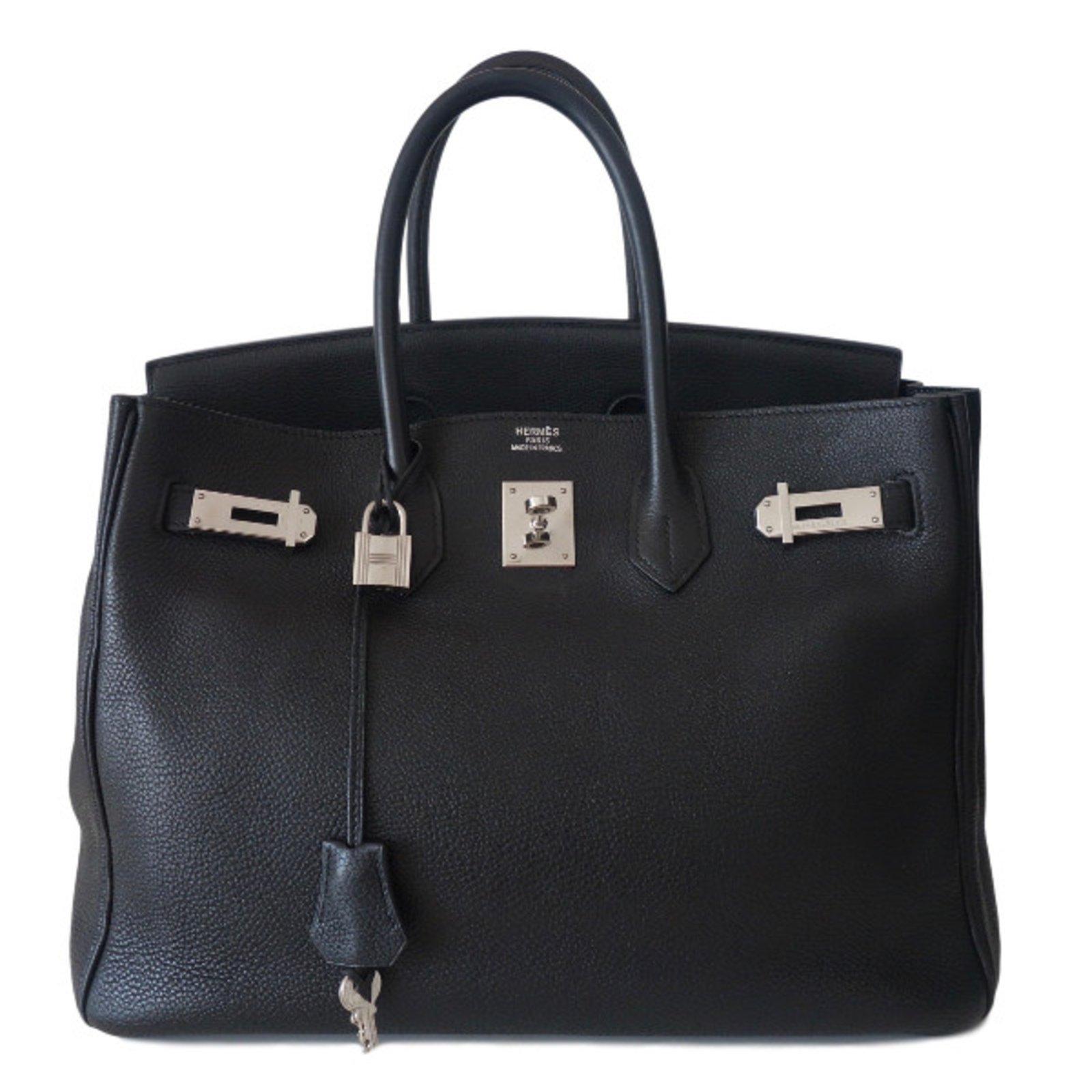 sacs main herm s sac hermes 35 birkin noir cuir noir ref. Black Bedroom Furniture Sets. Home Design Ideas