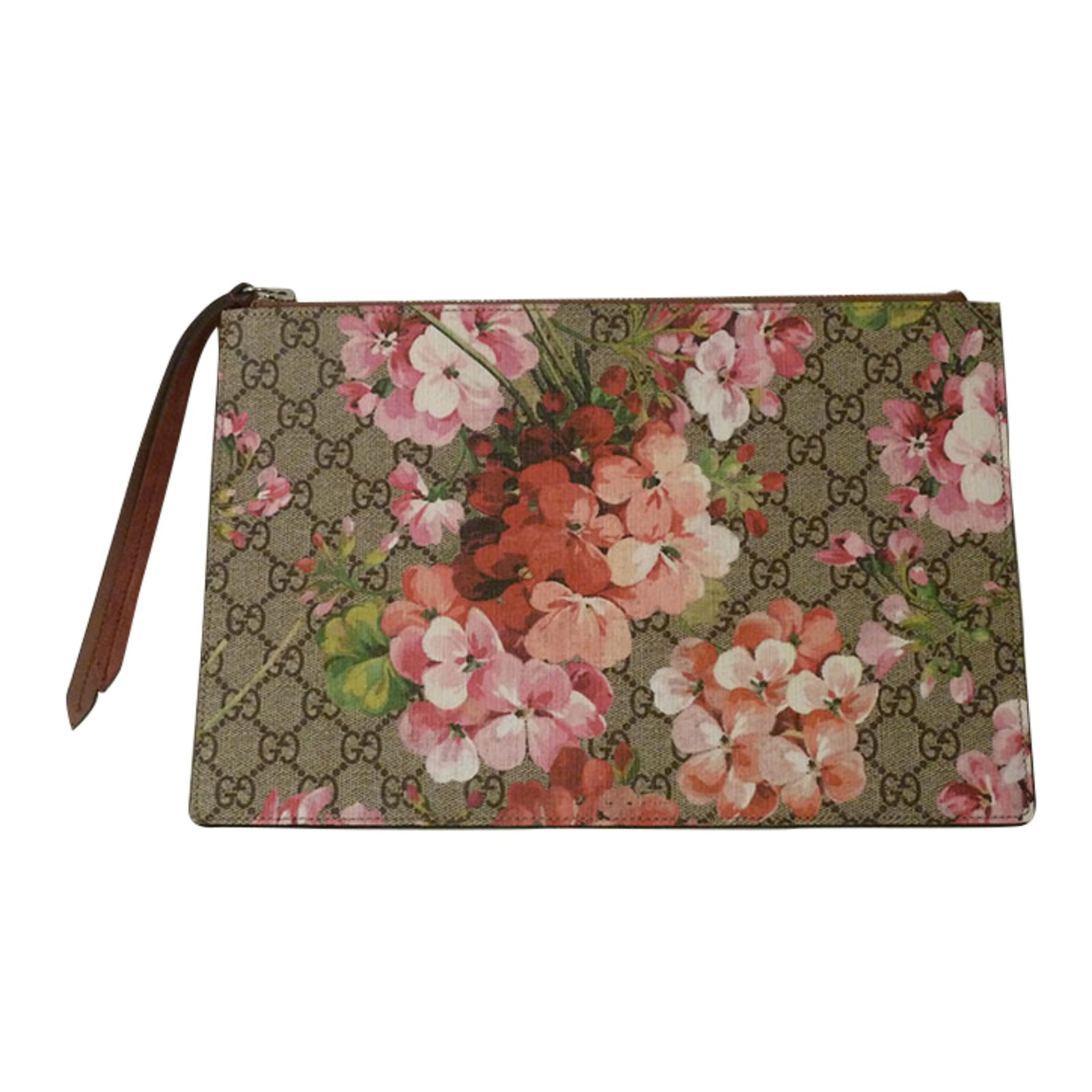 gucci clutch. gucci gg supreme blooms zip pouch clutch bags other beige ref.37555 l