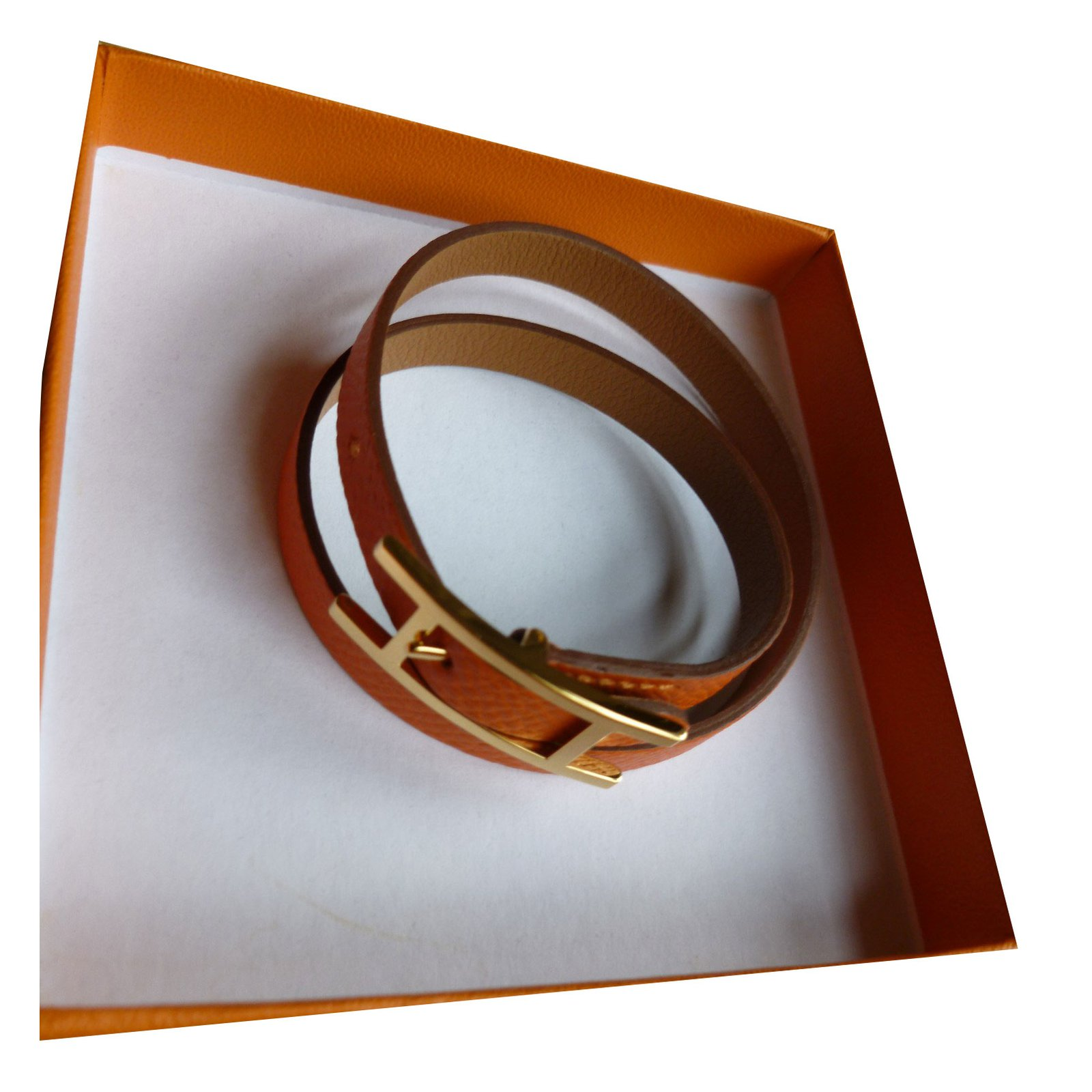 Bracelets Hermès Bracelet Hermes Behapi Cuir Orange ref.37702