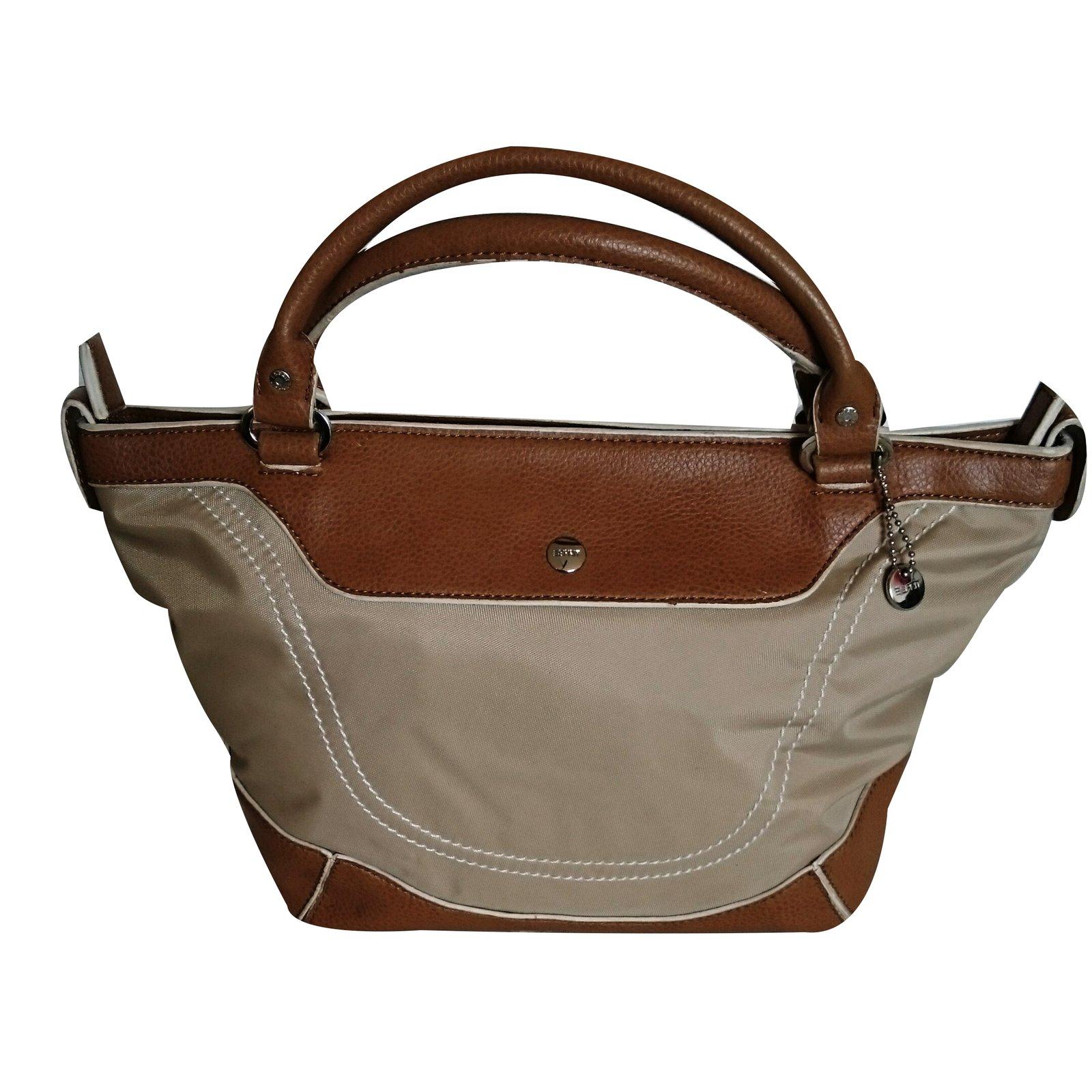 Autre Marque Esprit Handbag Handbags Leather Cloth Beige Caramel Ref 37794