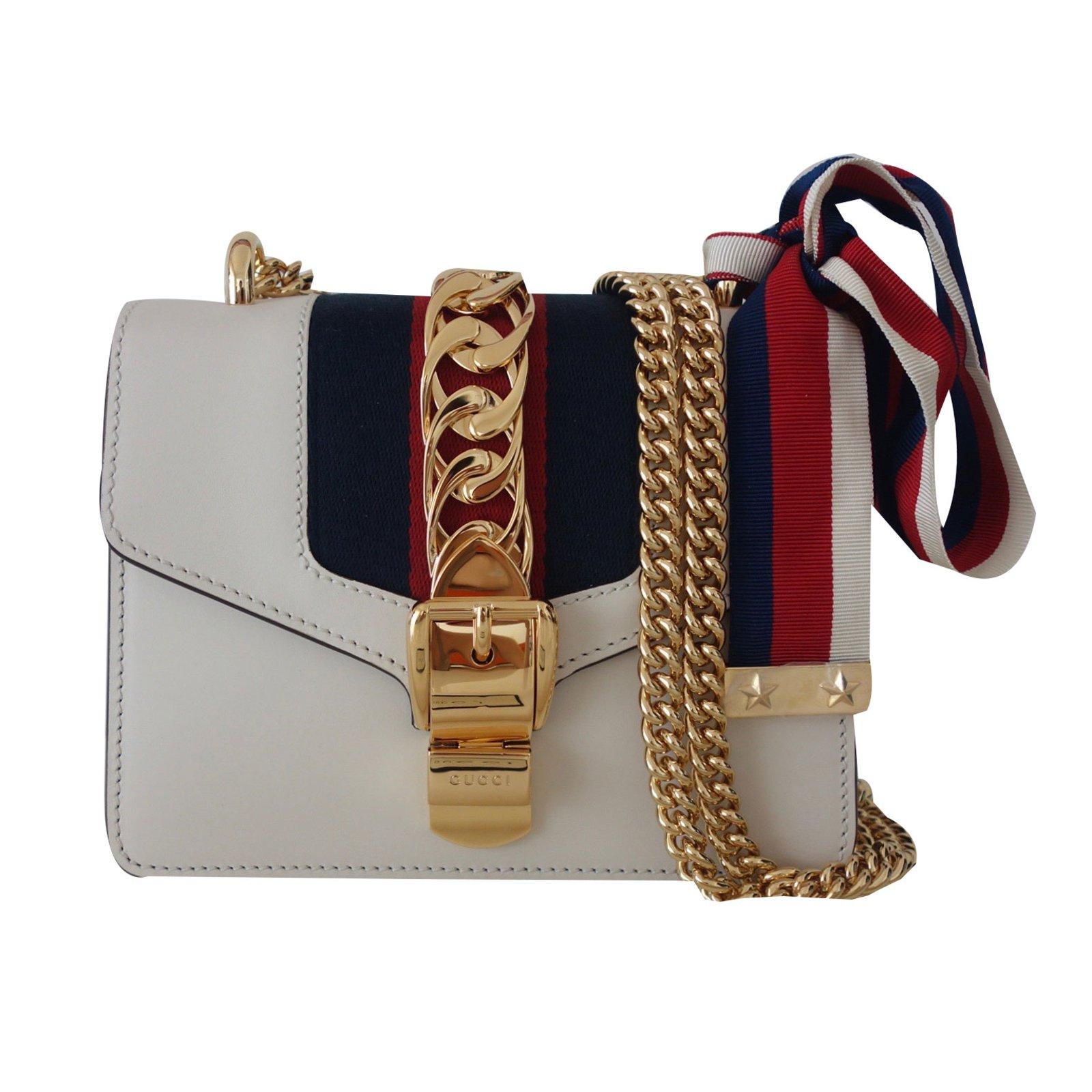 Gucci Sylvie Handbag Handbags Leather White Ref 37839