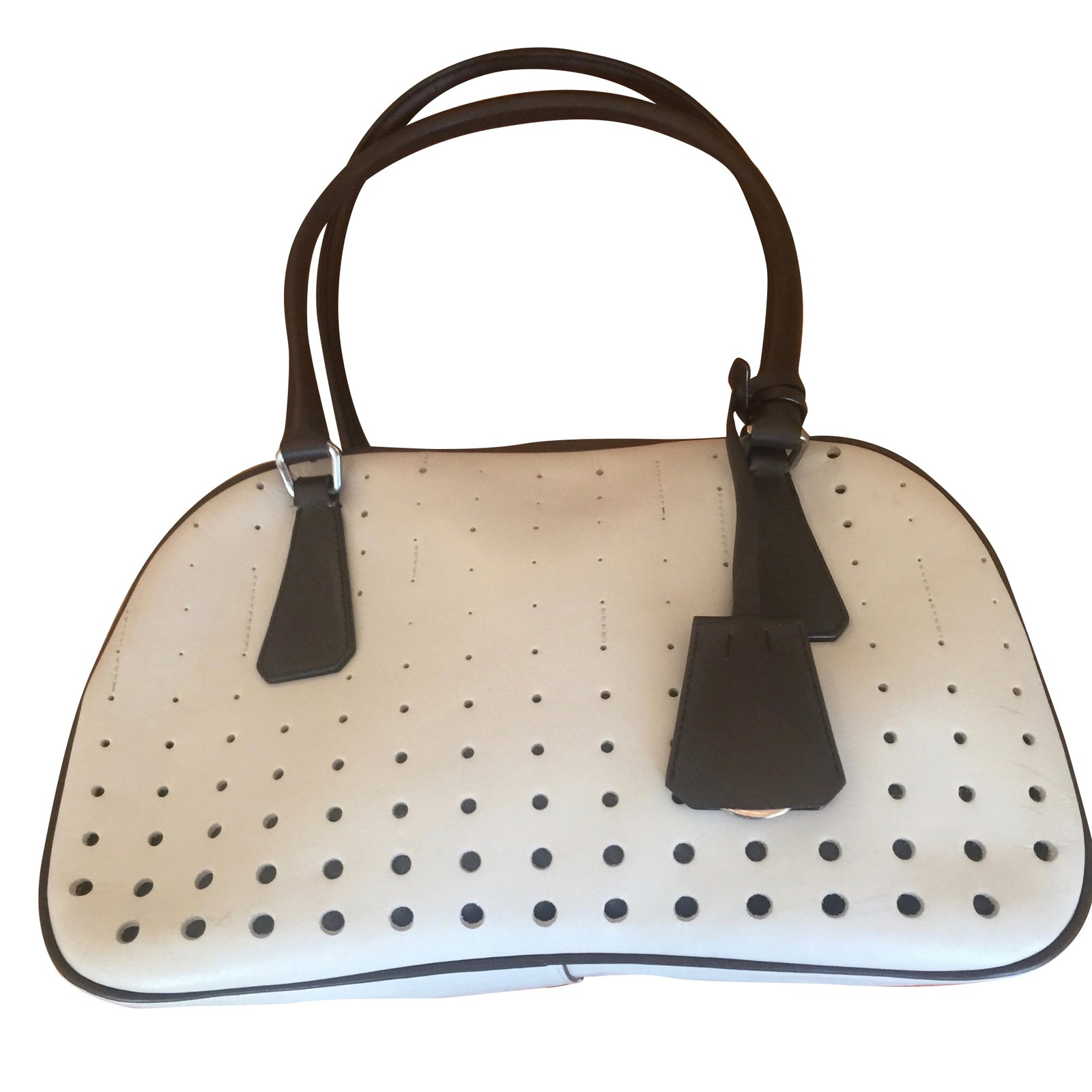 ... netherlands prada bowling handbags leather white ref.38197 b0882 64be0 75d228622944b