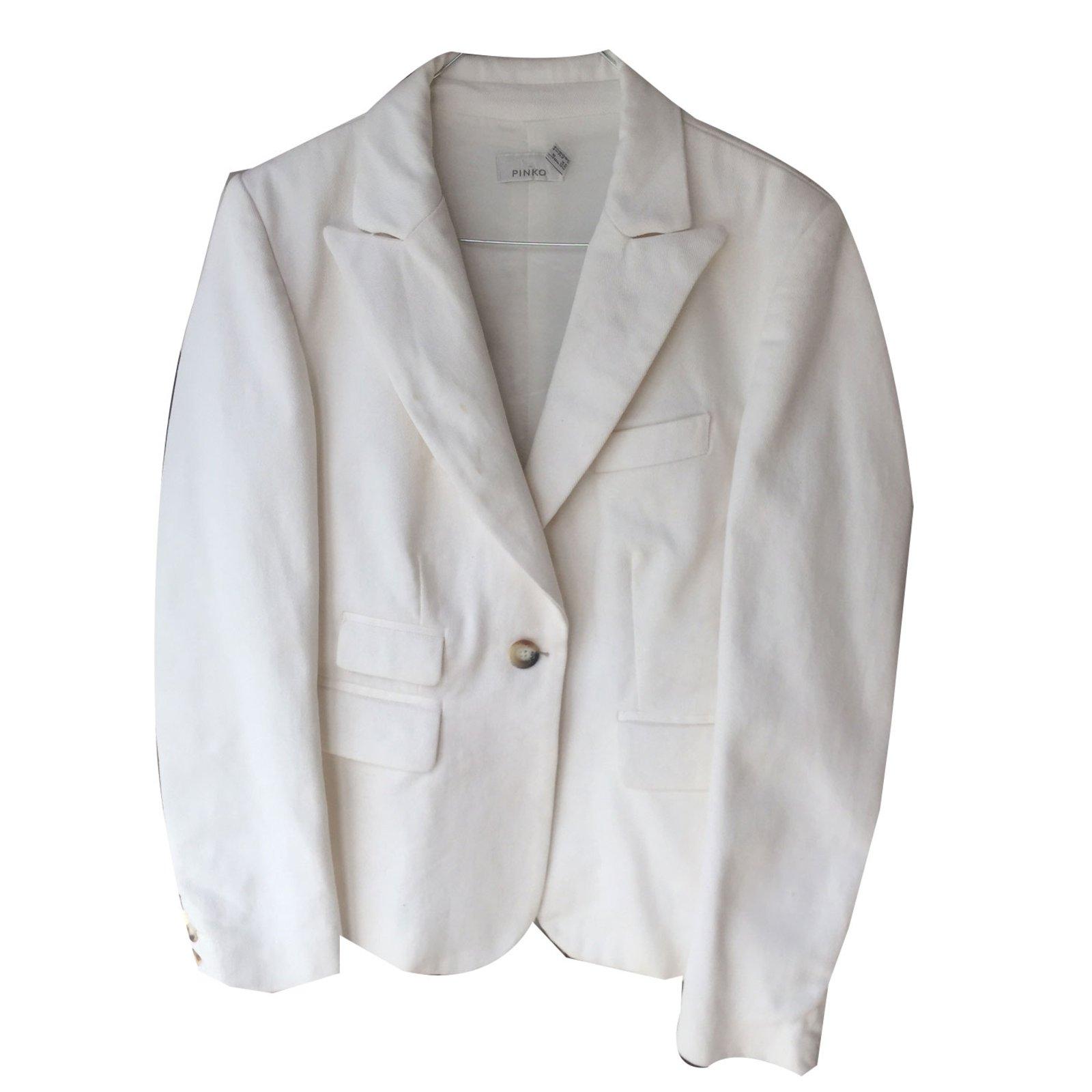38375 Ref Tëte Pinko Blazer Cassé Mort Vestes Blanc Coton gq8xUnw0
