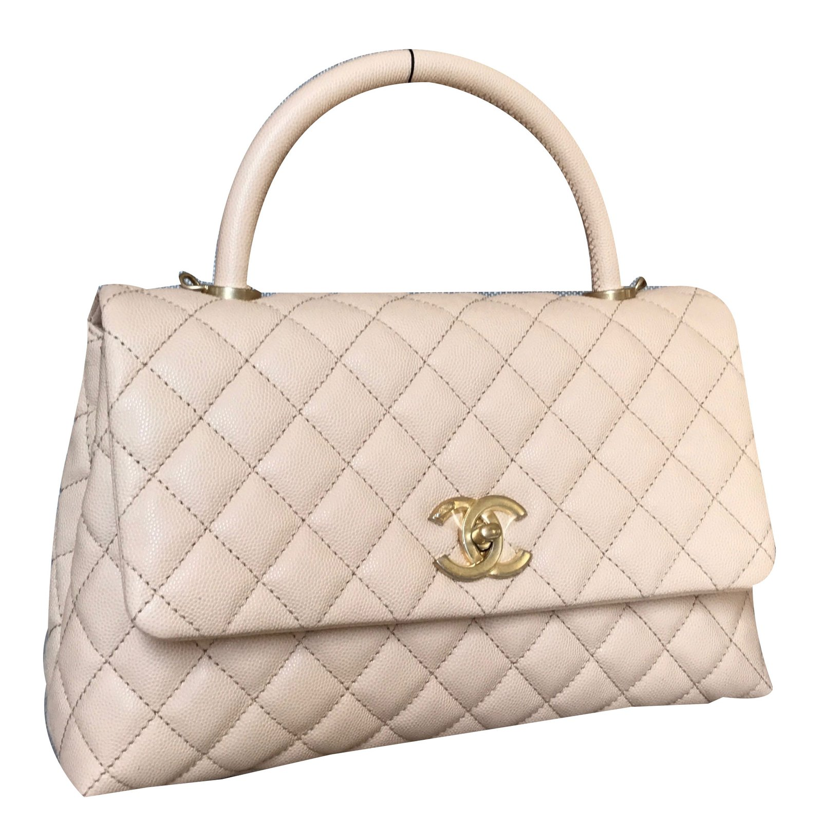 chanel coco handle handbags leather beige ref38563 joli