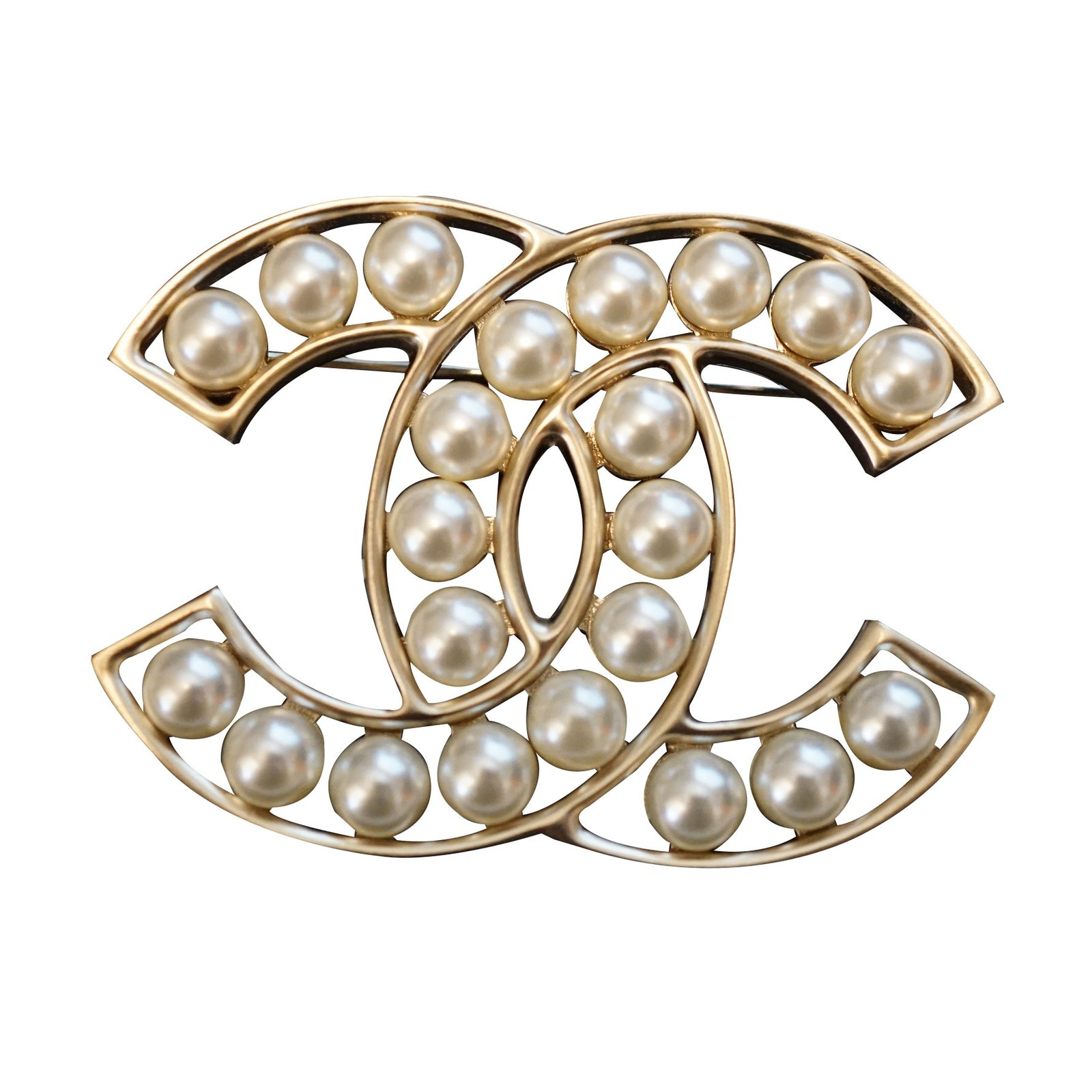 authentic gold brand brooch sold image new channel loading out pearl and is chanel itm s cc pin crystal