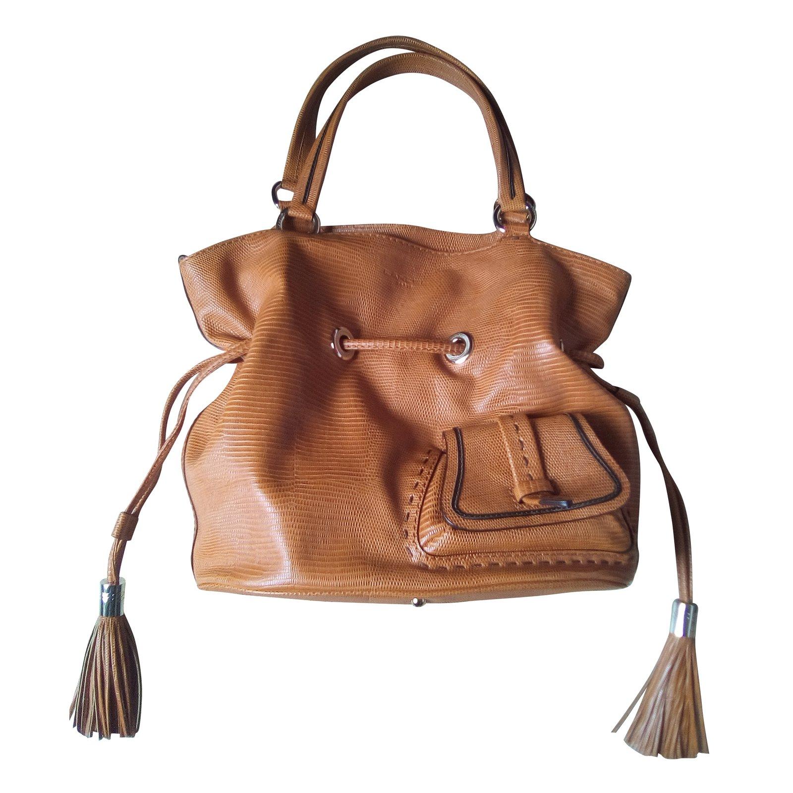 lancel handbag handbags leather orange ref 38648 joli closet