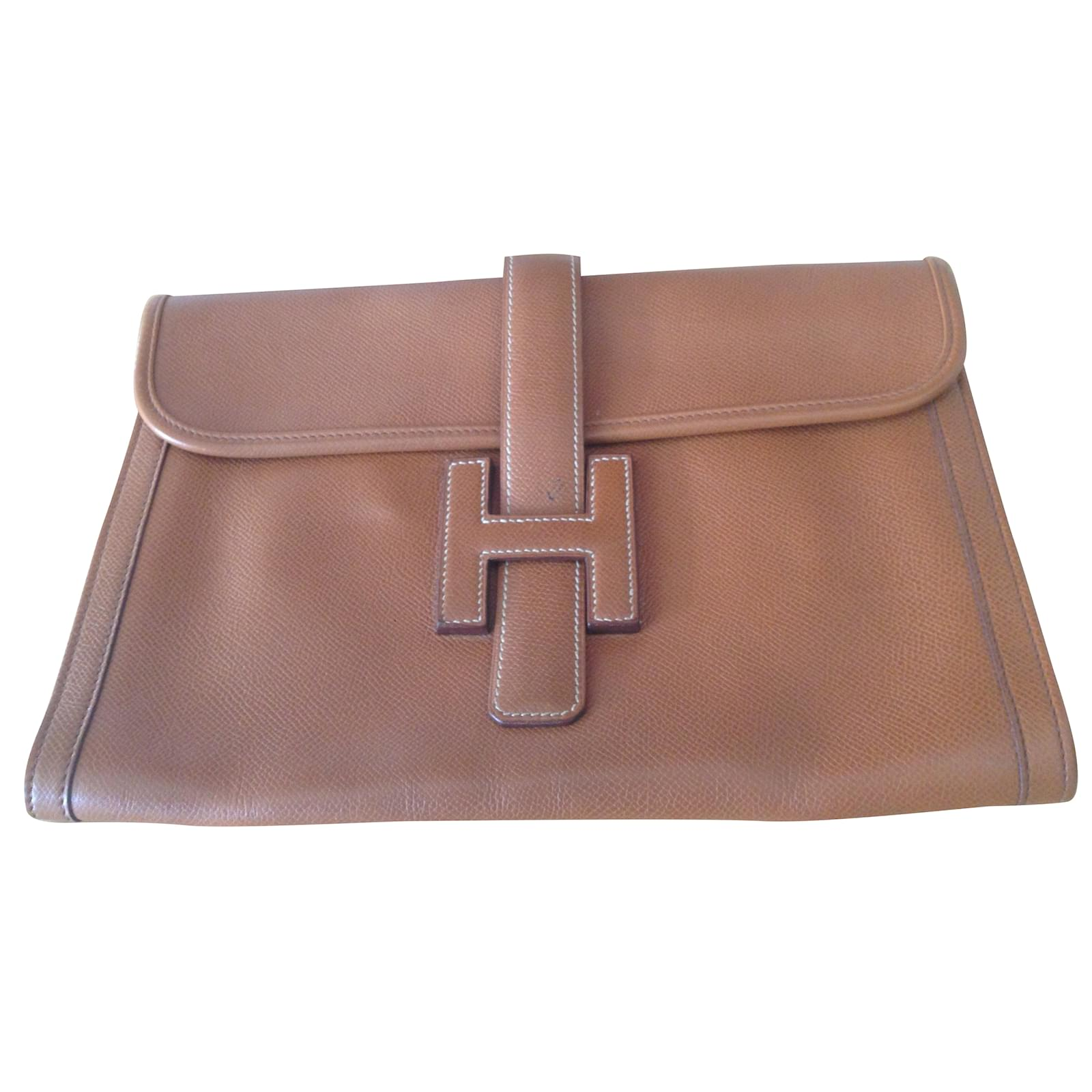 d4ab380f7784 Hermès Hermes Jige PM Clutch bags Leather Brown ref.38793 - Joli Closet