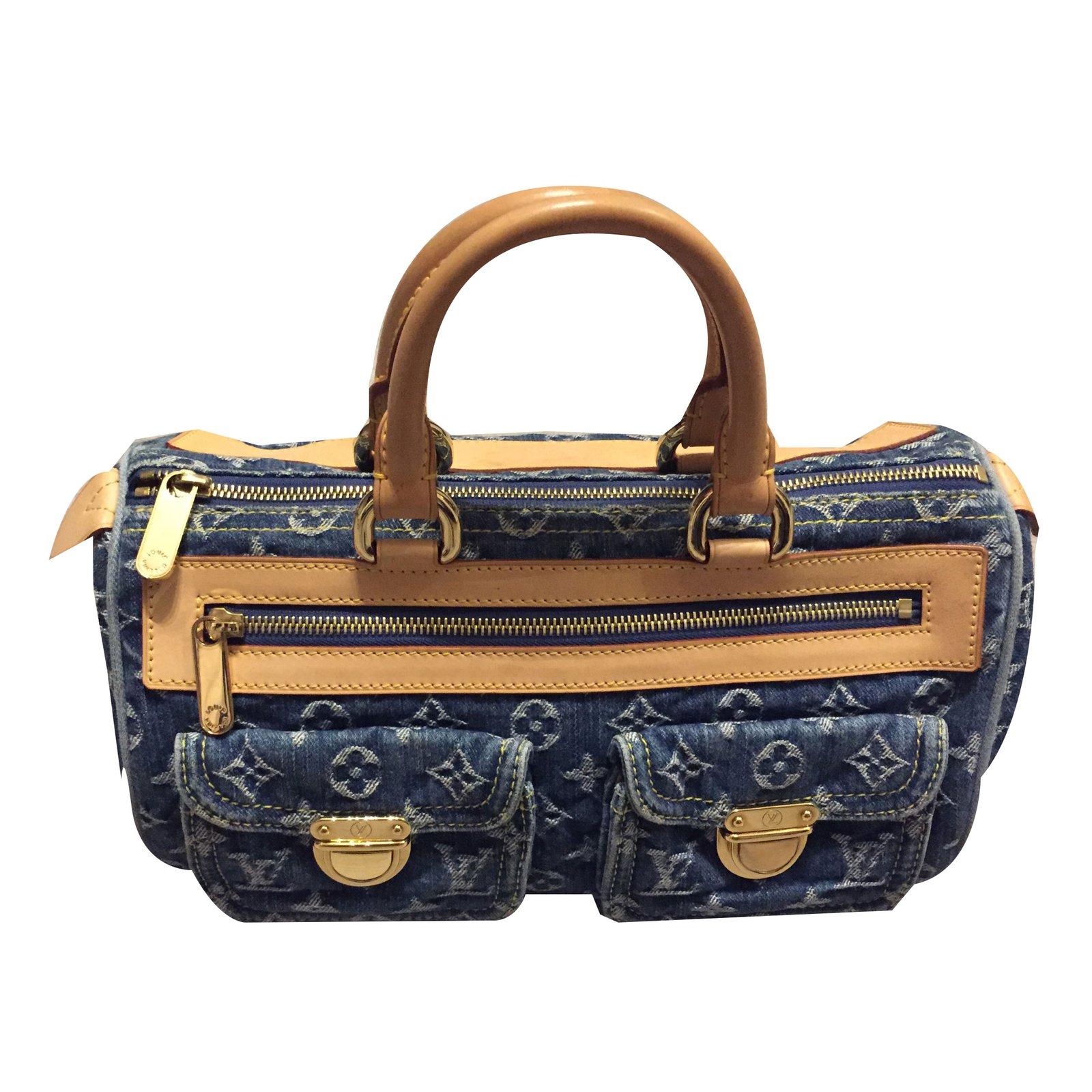 b8077eb8274a Sacs à main Louis Vuitton Speedy Jean Bleu ref.38989