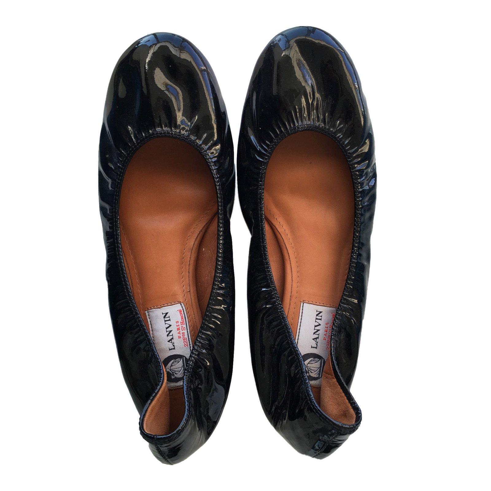 09fbd6b408800 Lanvin Ballet flats Ballet flats Patent leather Silvery ref.39217 ...