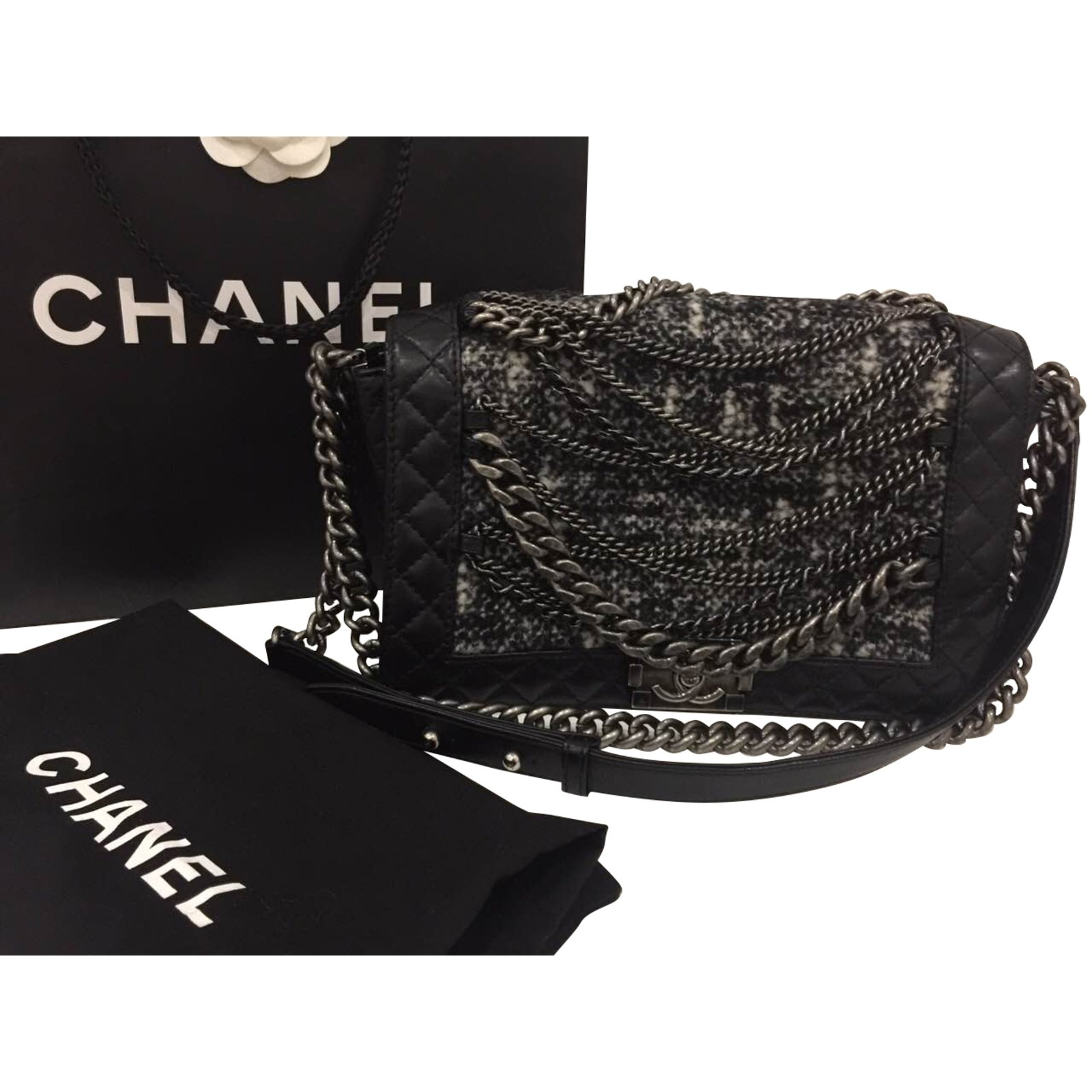 Chanel Boy Chain Bag Leather And Tweed Handbags Black Ref 39294