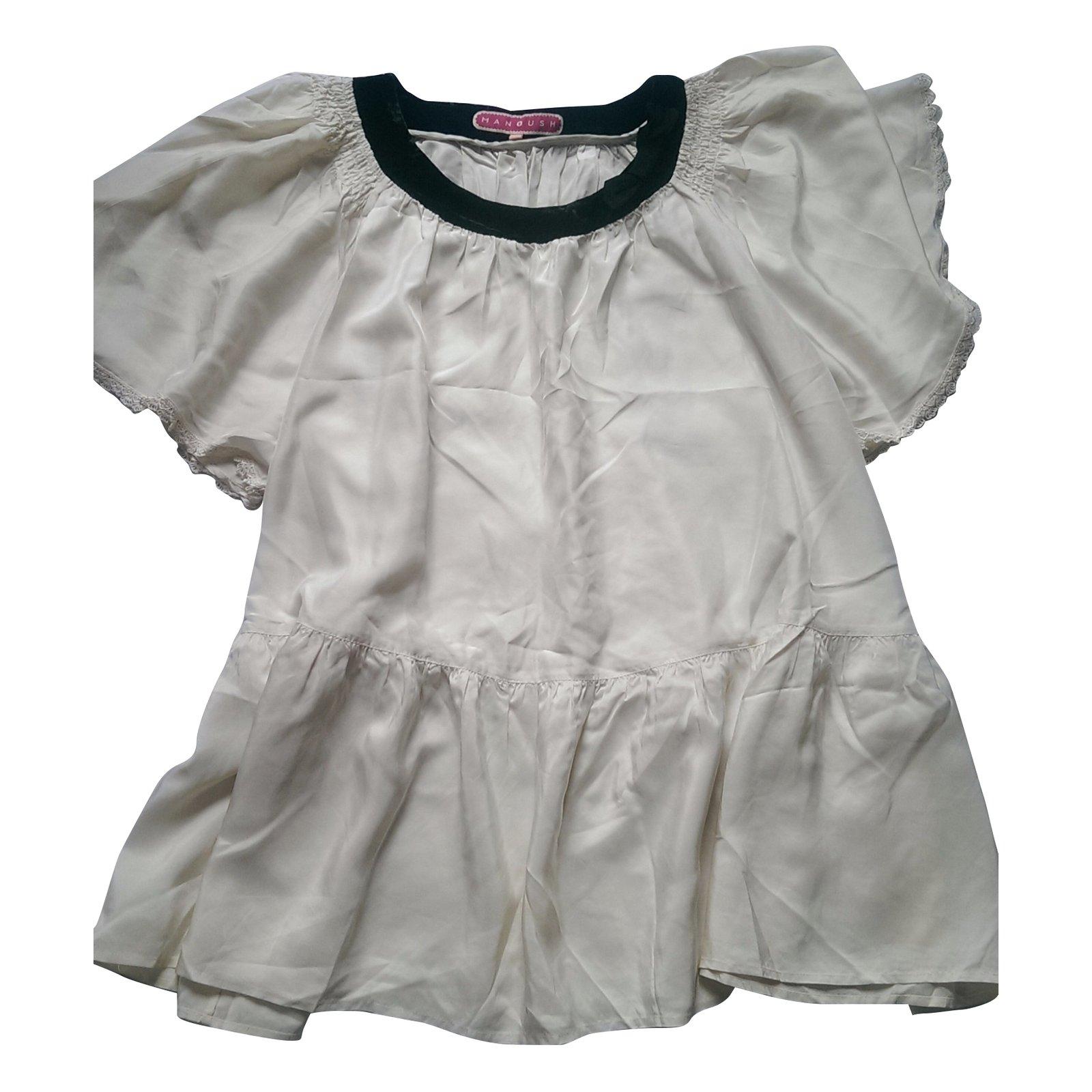 caa474a374e6e0 ... Manoush Silk blouse tunics Silk Black Cream ref 39310 Joli Closet