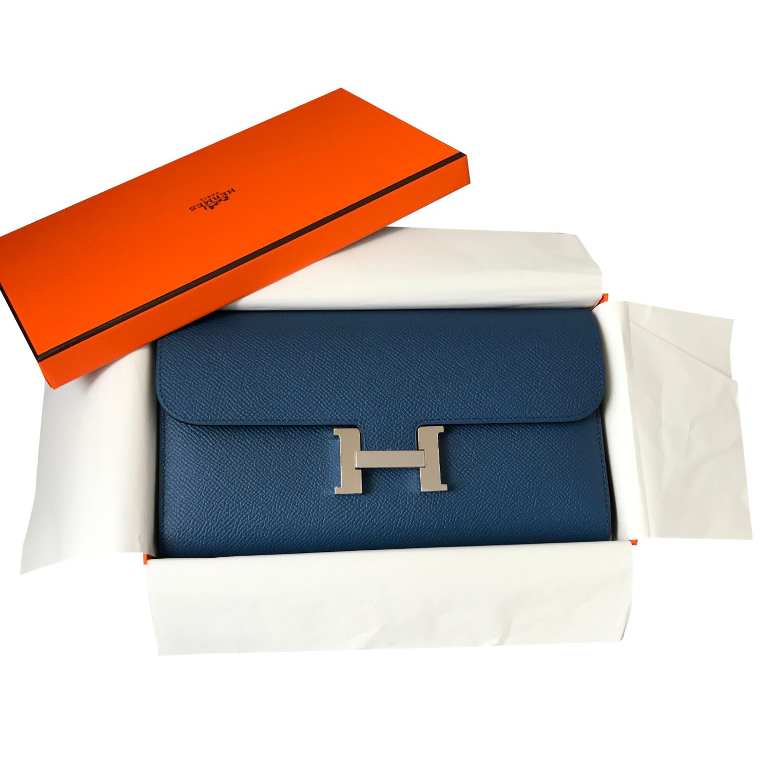 ea76c0b710f9 Portefeuilles Hermès Portefeuille Constance Cuir Bleu ref.39403 ...