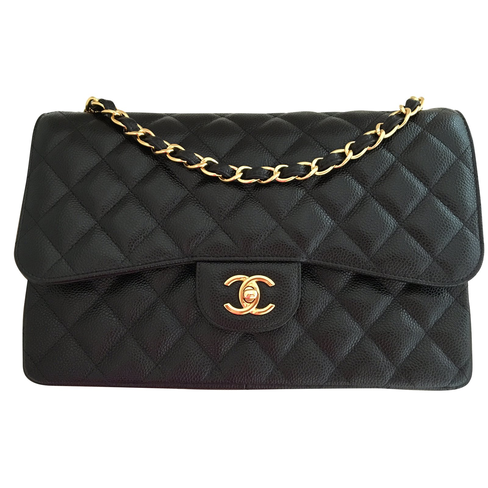 3c78566c76a Chanel CHANEL Timeless classic double flap JUMBO caviar Handbags Leather  Black ref.39490 - Joli