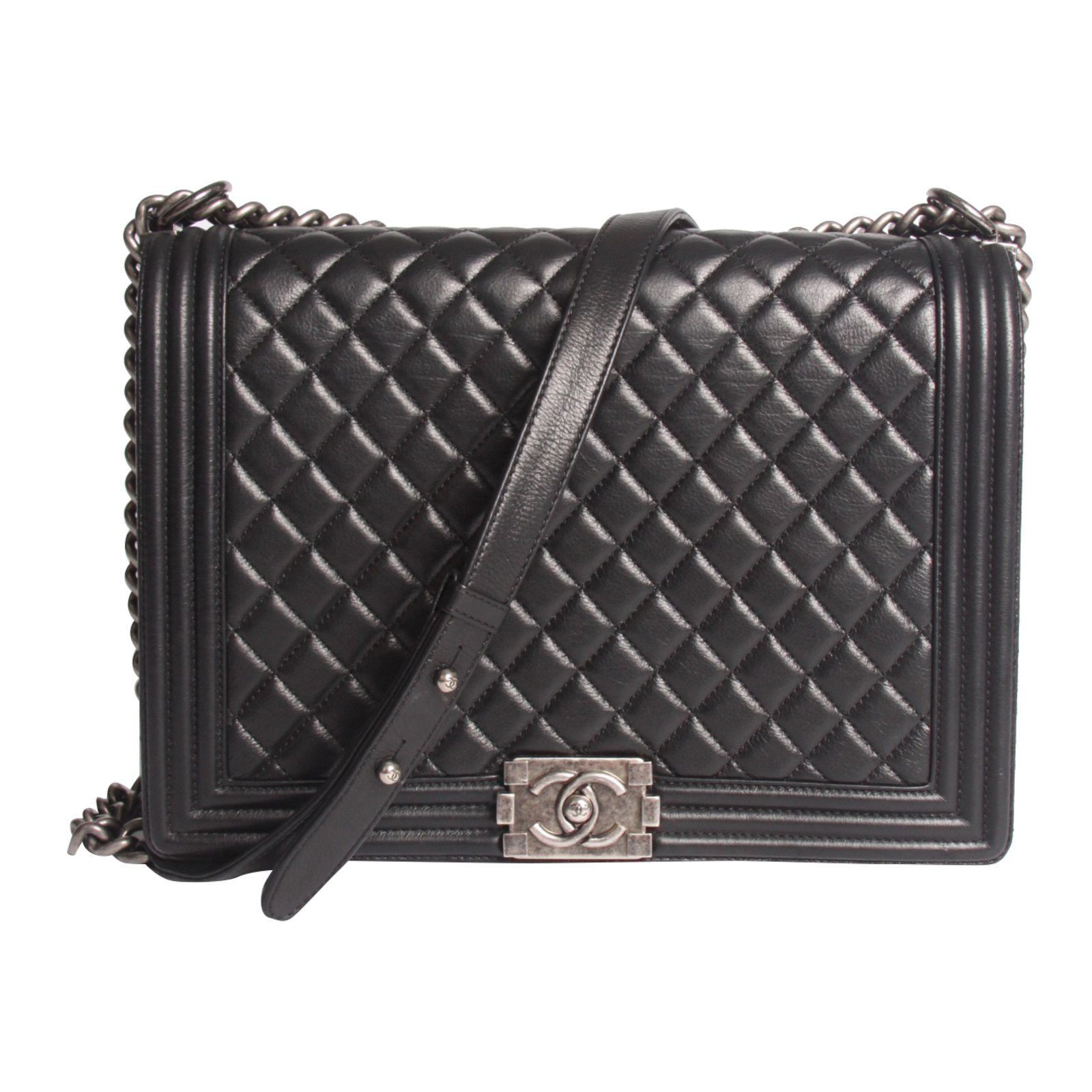 ec565eecda71 Chanel Chanel Boy Bag Large - black leather Handbags Leather Black ref.39495