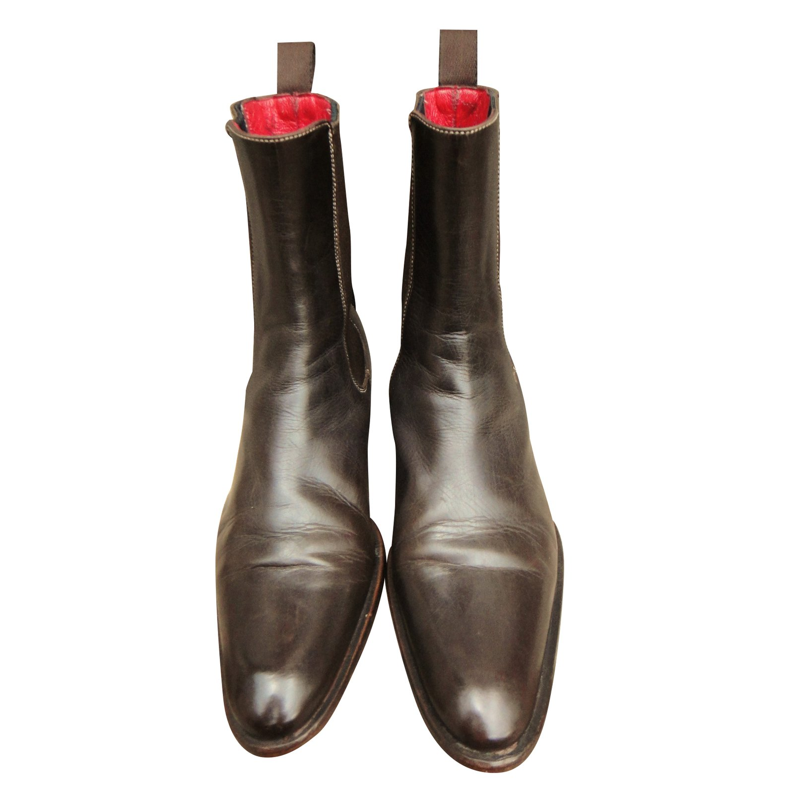 2c3d0935288e Santoni Ankle Boots Ankle Boots Leather Dark brown ref.39510 - Joli ...