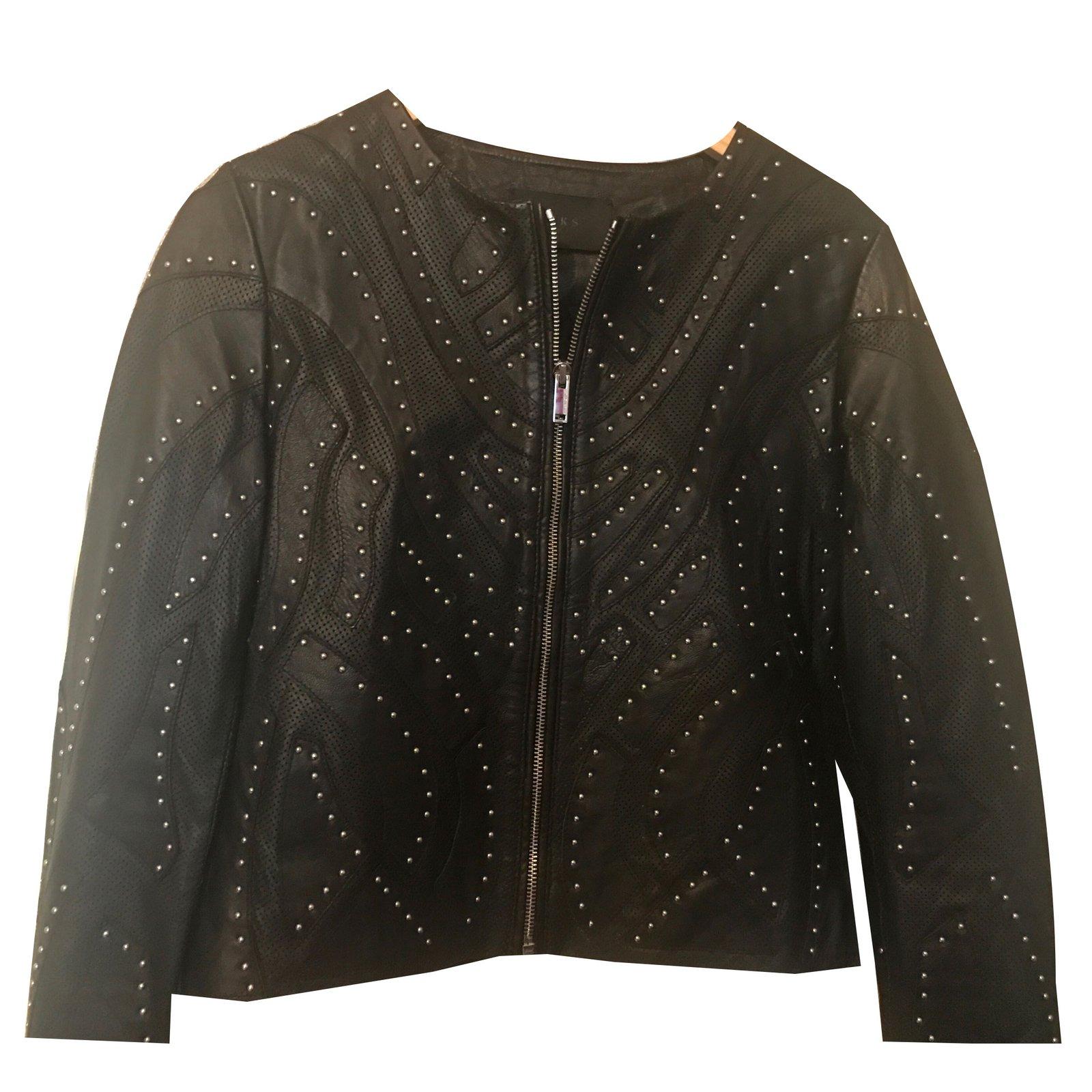 vestes ikks ikks veste en cuir cuir d 39 agneau noir argent. Black Bedroom Furniture Sets. Home Design Ideas