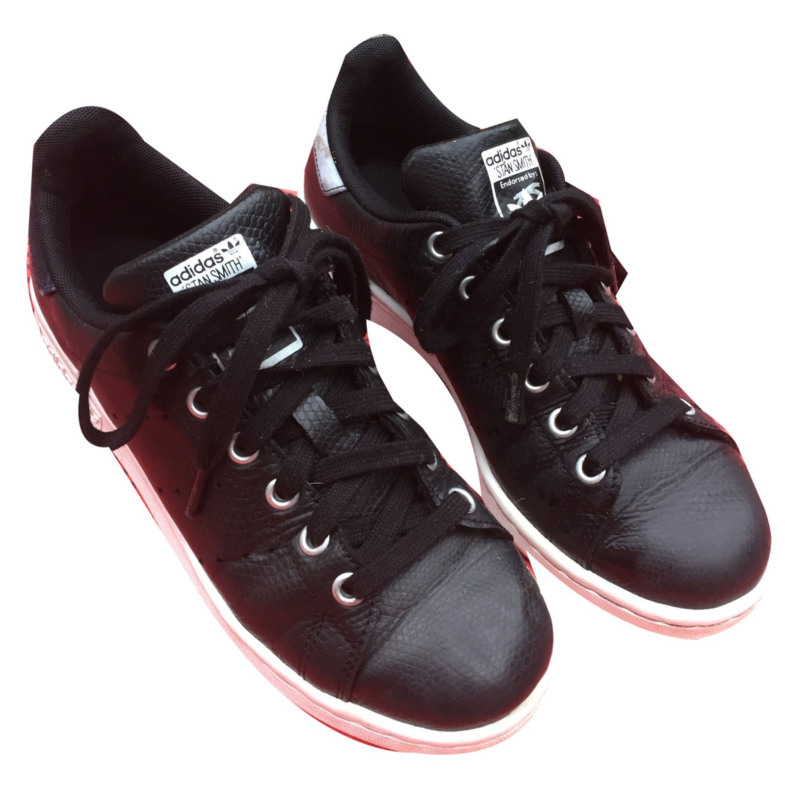 Baskets Adidas STAN SMITH RITA ORA Cuir Noir ref.39600