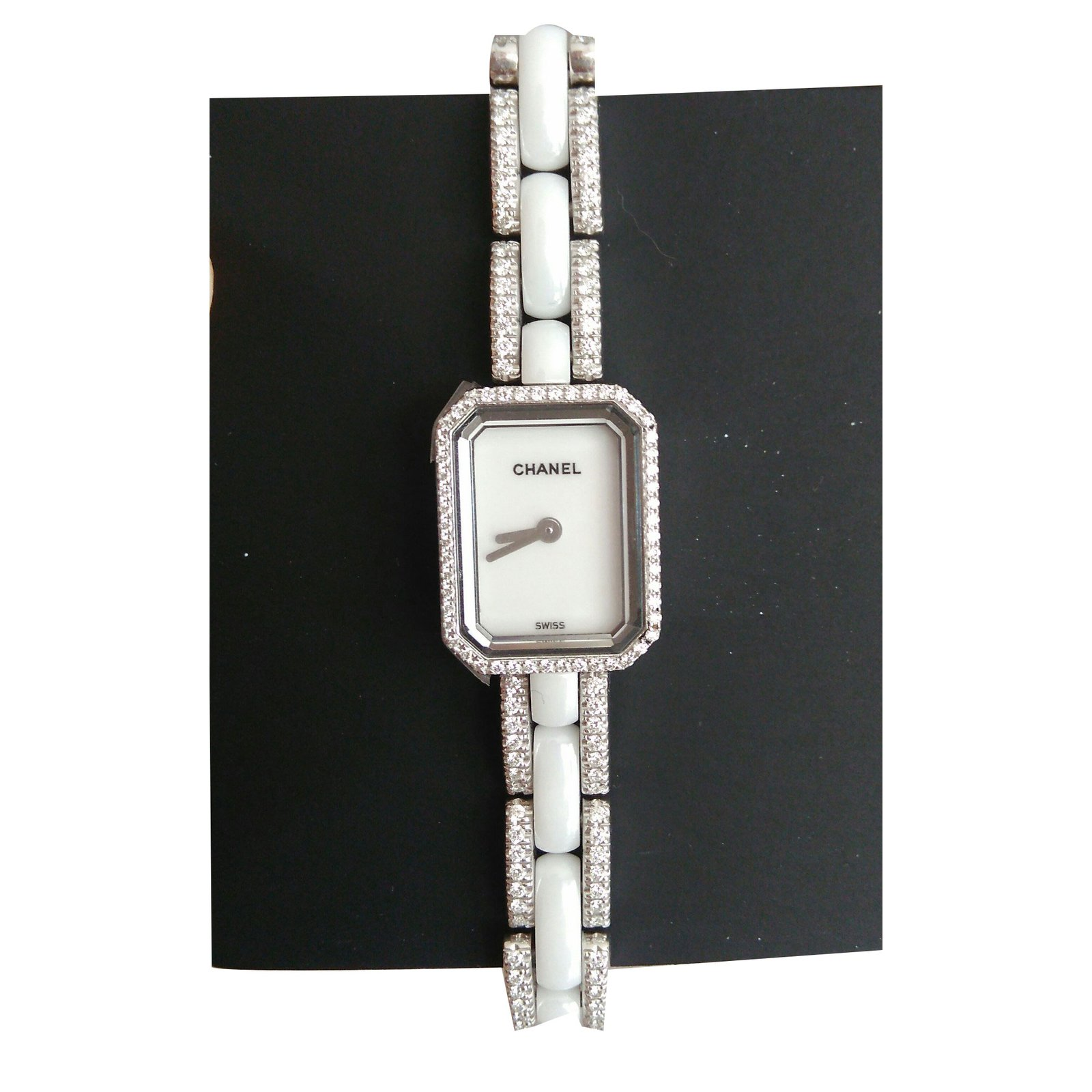 watch dial product ladies diamond white bezel chanel watches black