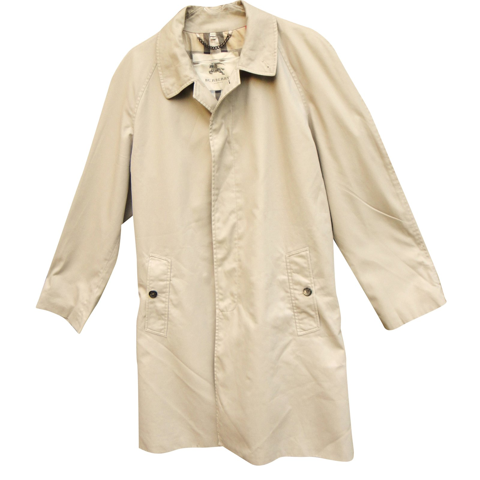 Manteaux homme Burberry Trench coat Polyester Beige ref.39795 - Joli ... db6a2b7e0a3