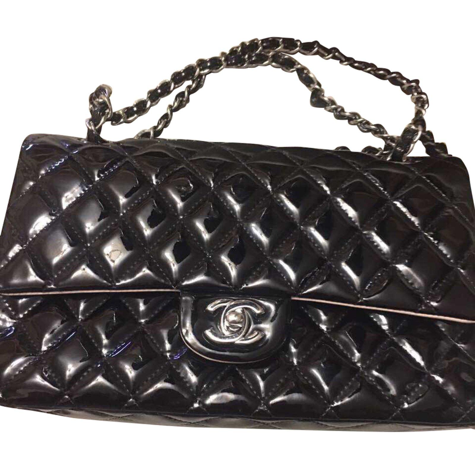 9b61436b01f232 Chanel 2.55 classic double flap Handbags Patent leather Black ref.39799
