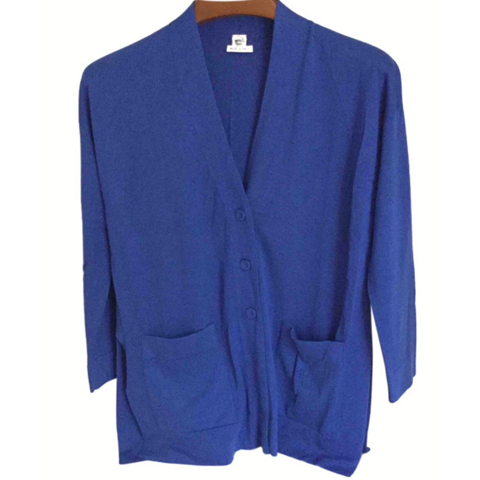 Hermès Long royal blue cardigan Hermes Knitwear Cotton Blue ref ...