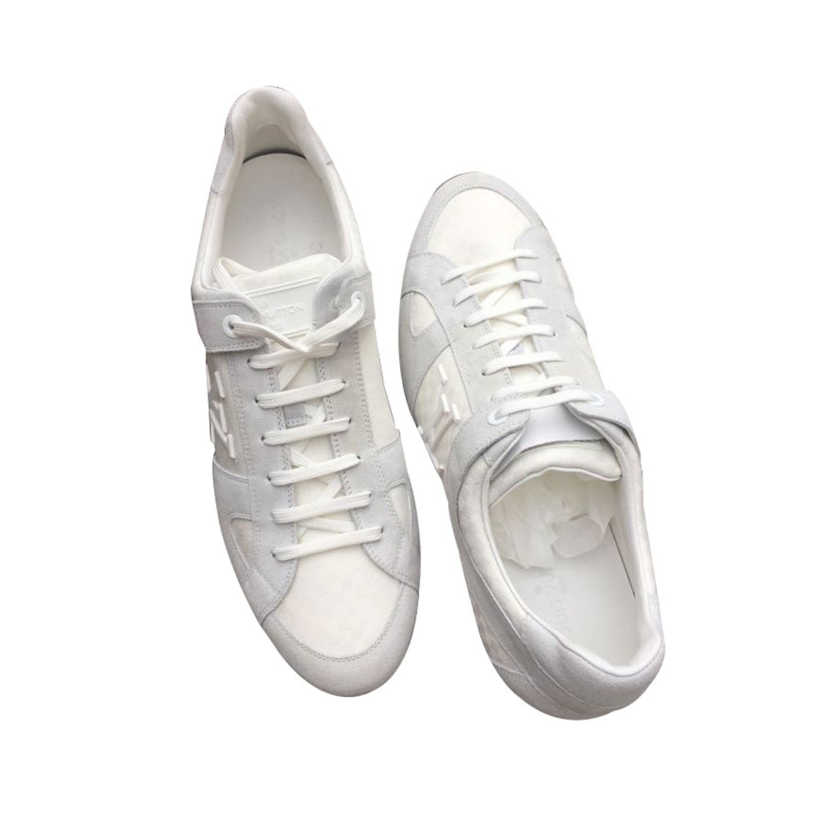 Baskets Homme Louis Vuitton Sneakers Blancs Daim Blanc Ref