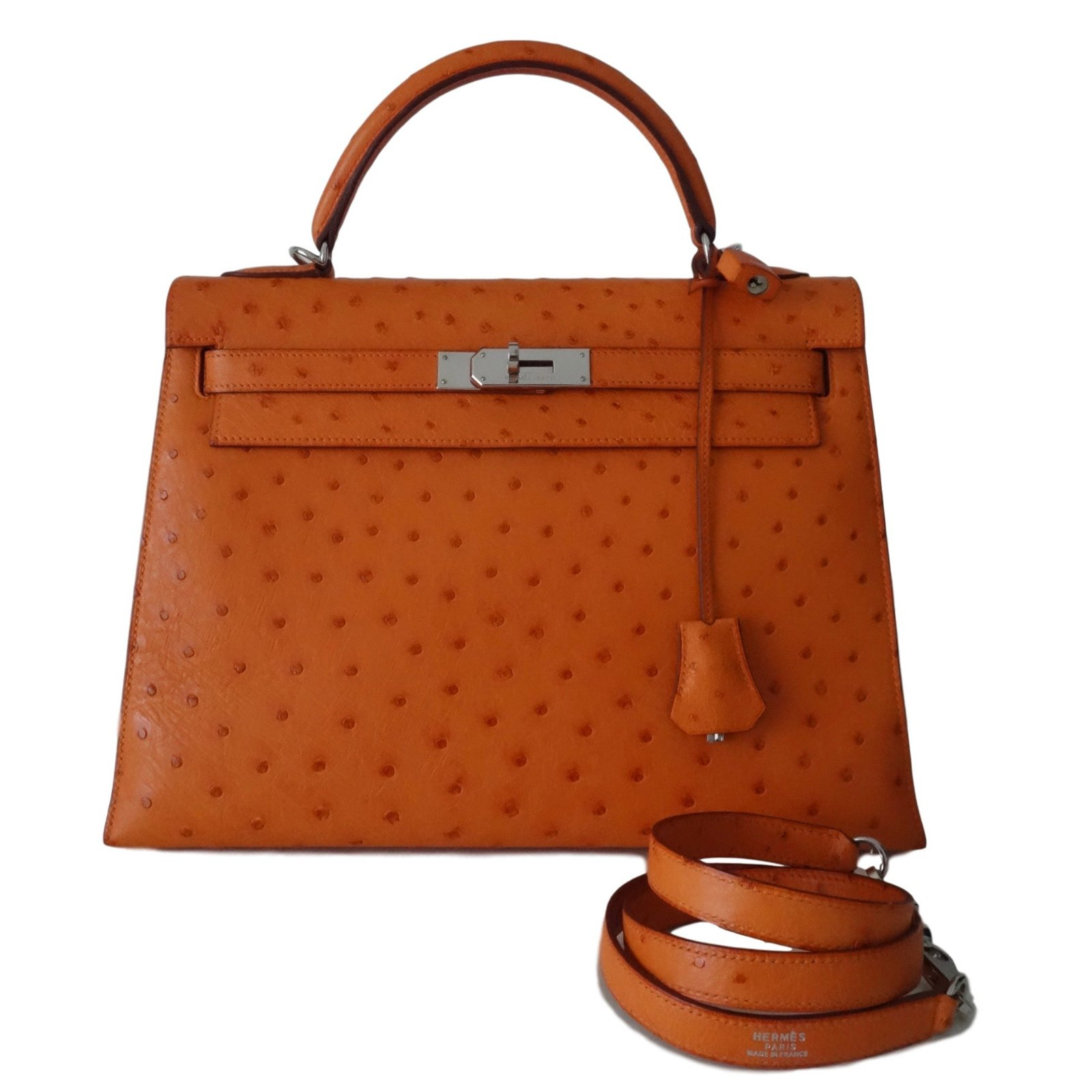 SAC HERMES KELLY 32 AUTRUCHE ORANGE