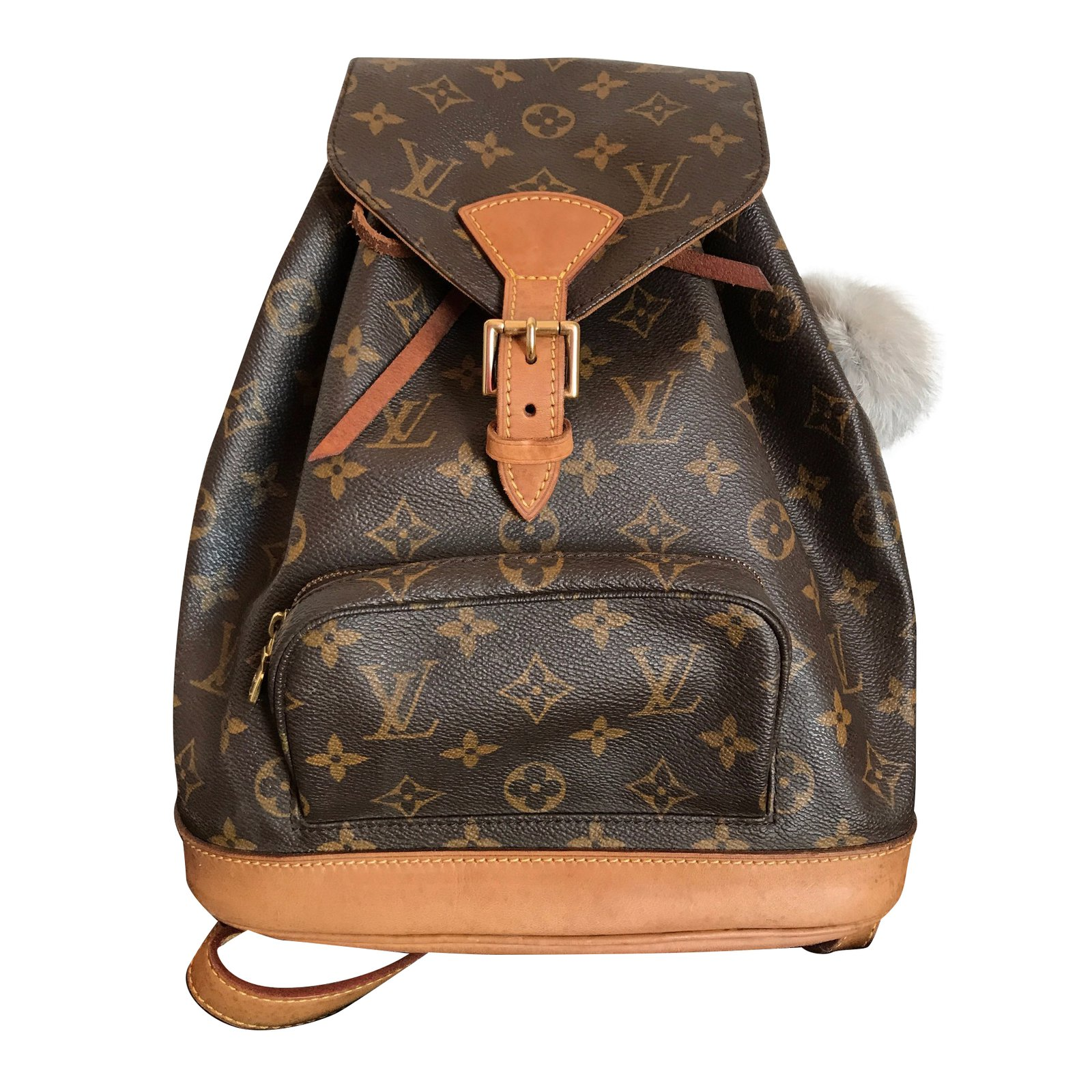 louis vuitton backpack montsouris mm canvas monogram backpacks leather other brown golden ref