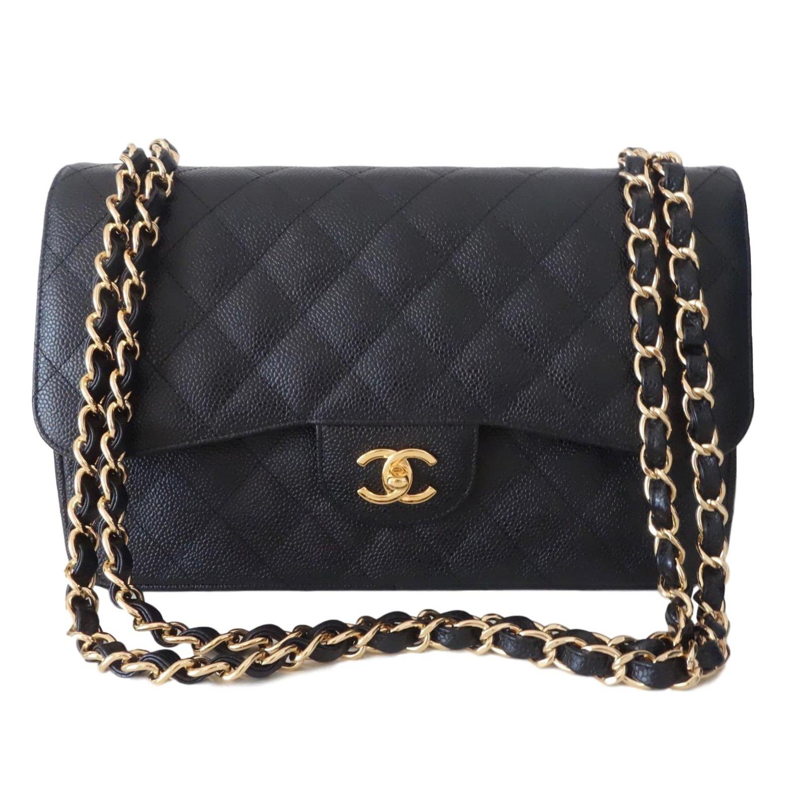 Chanel Chanel Classic GM Caviar leather Handbags Leather Black ref.40361 8db9161114739