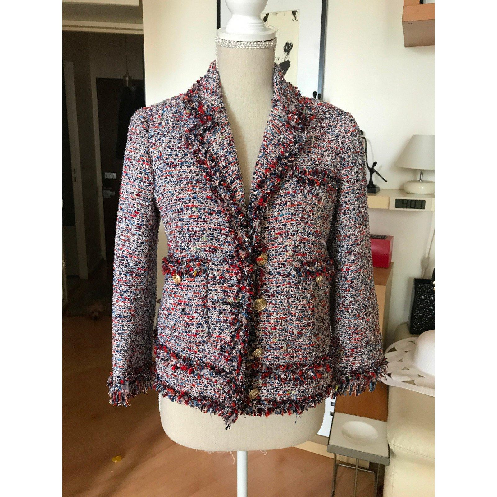 Polyester Multicolore Veste Vestes 40536 En Tweed Ref Zara qIvw1S