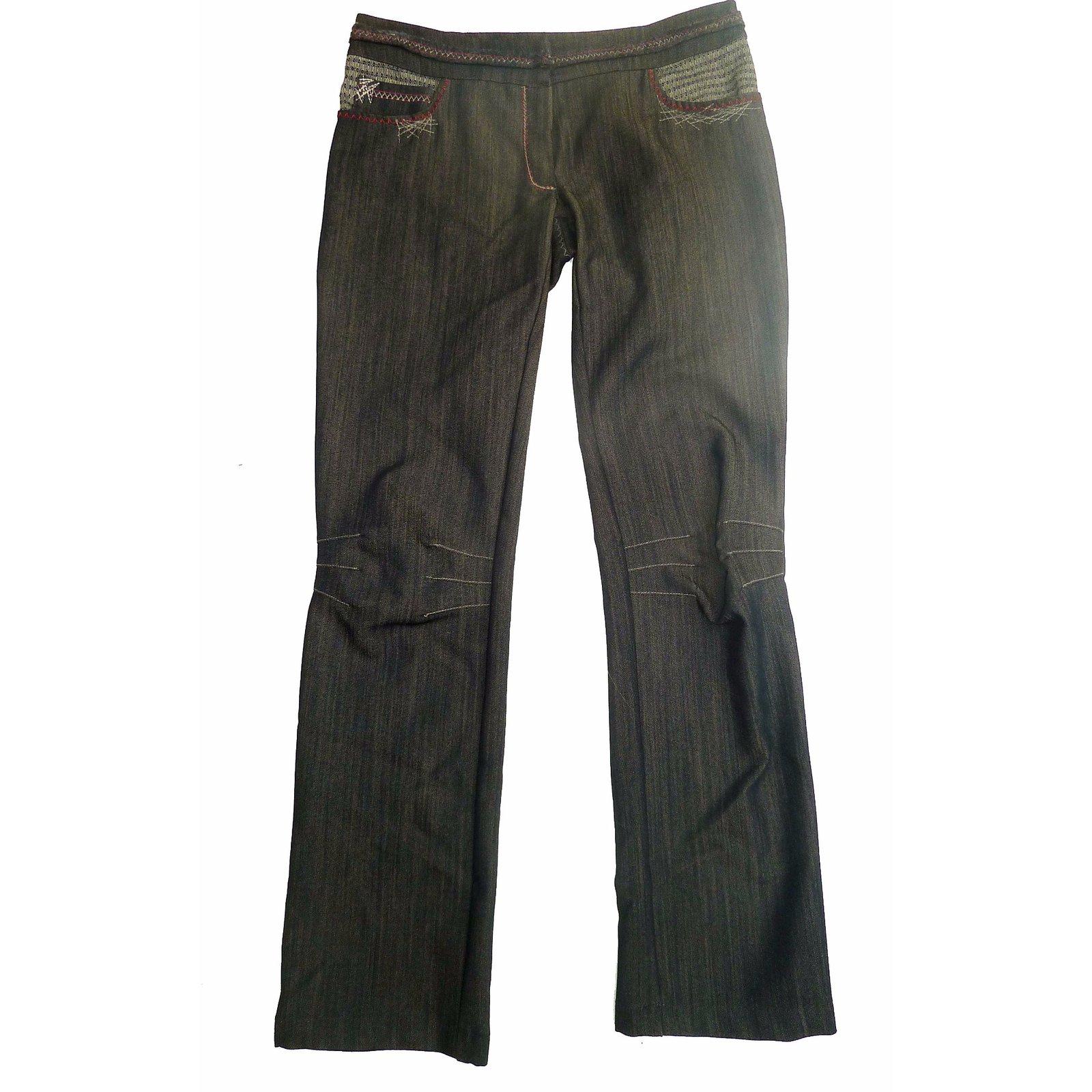pantalons autre marque pantalon tricot chic laine gris ref. Black Bedroom Furniture Sets. Home Design Ideas