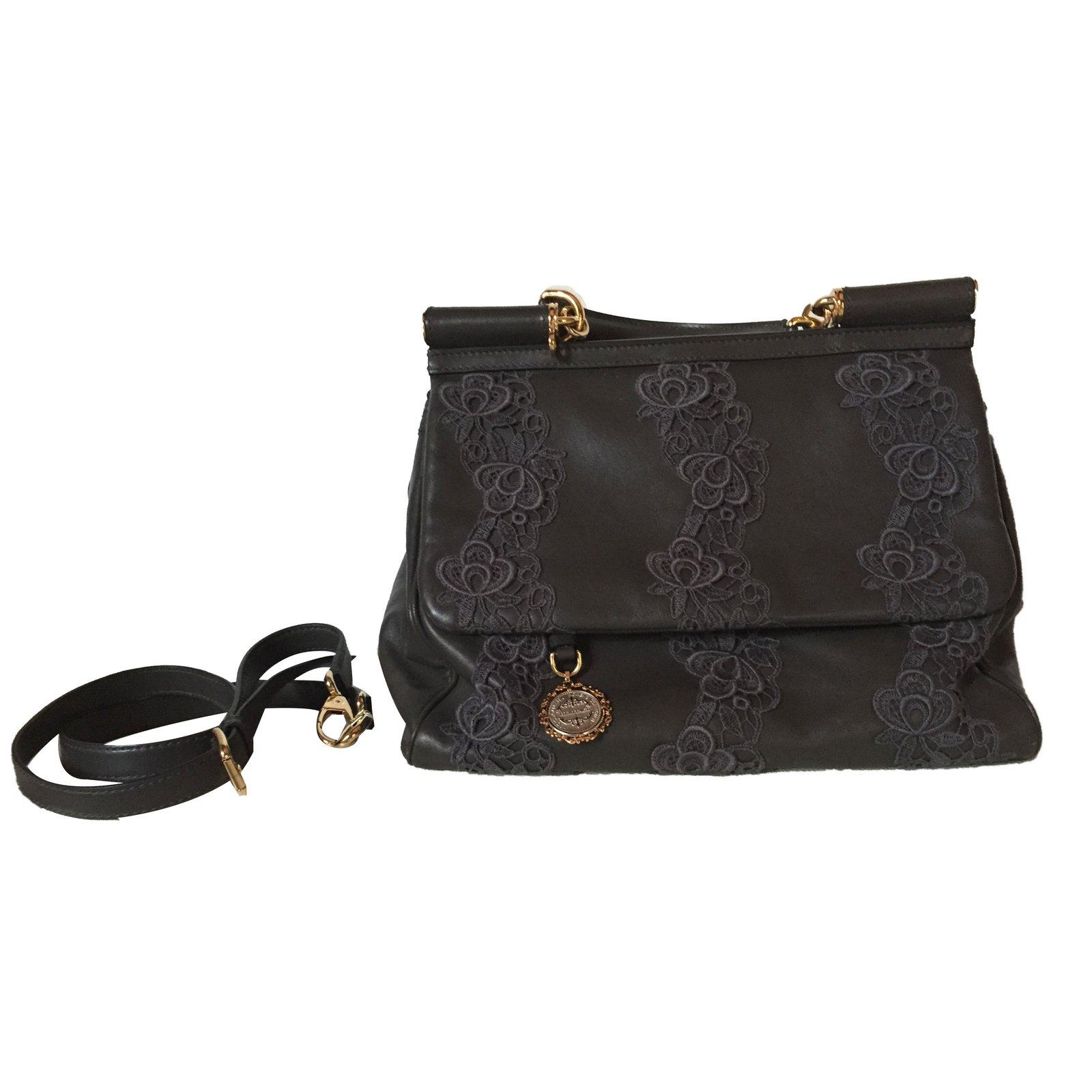 Dolce Gabbana Sicily Bag Handbags Lambskin Grey Ref 40701