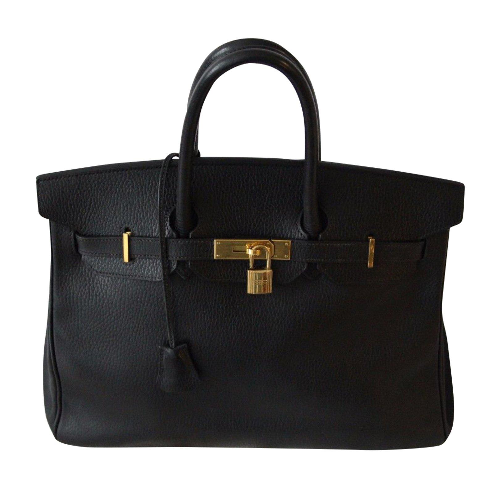 21f7167c71c Sacs à main Hermès Superbe sac Birkin 35 cm Hermès cuir vache Ardennes Cuir  Noir ref