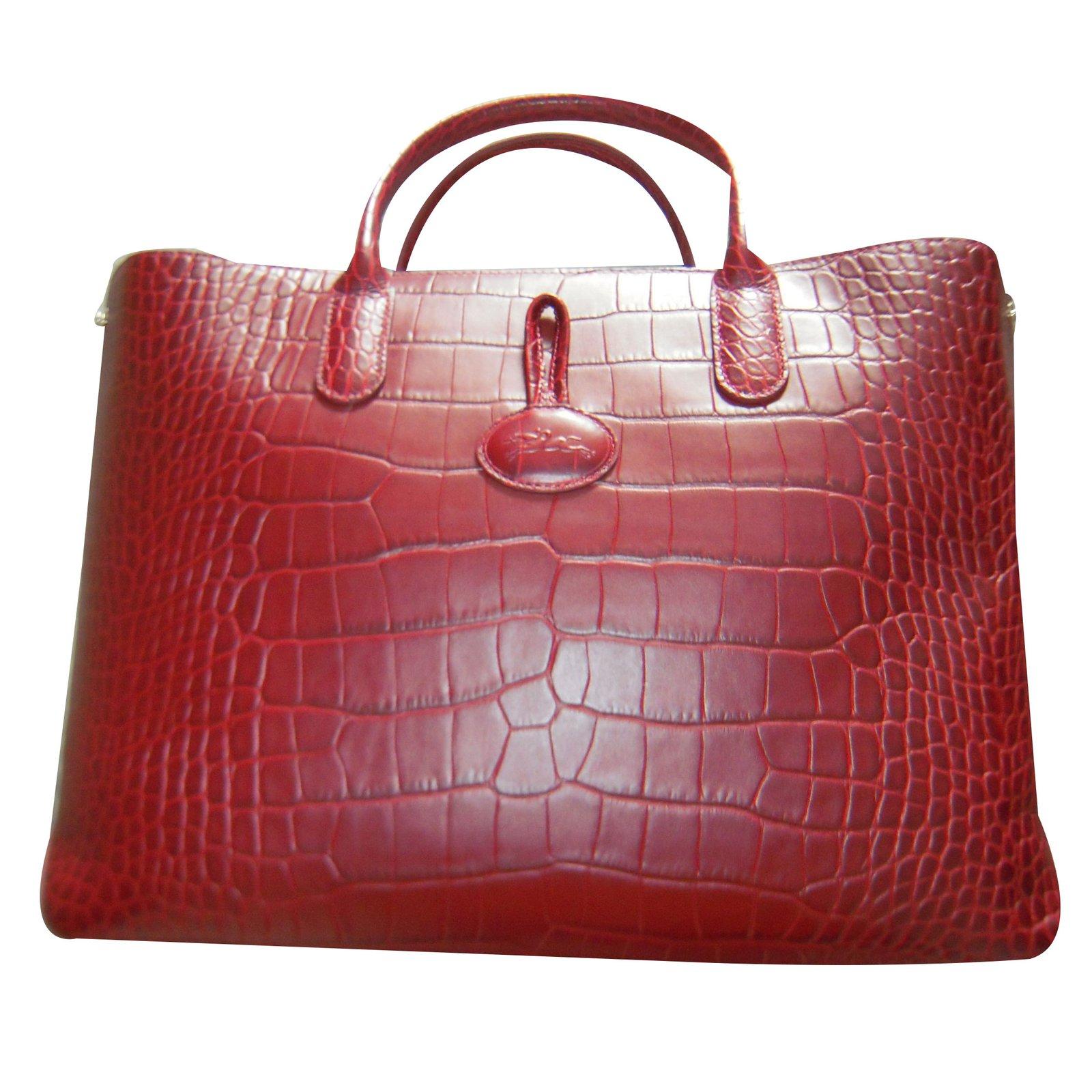 b387640faa Longchamp roseau Handbags Leather Dark red ref.41245 - Joli Closet