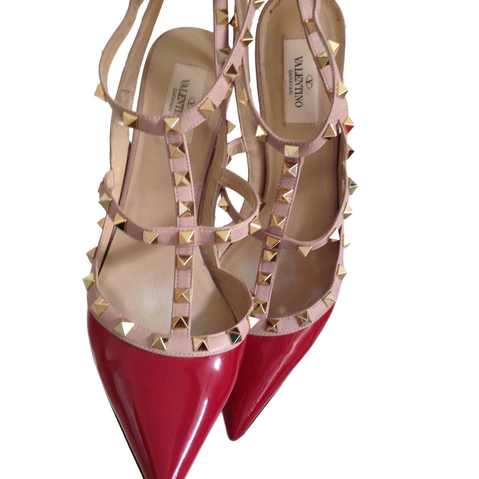 en ligne ici plus gros rabais nuances de Escarpins Valentino Rockstud vernis rouge Cuir vernis Rouge ...